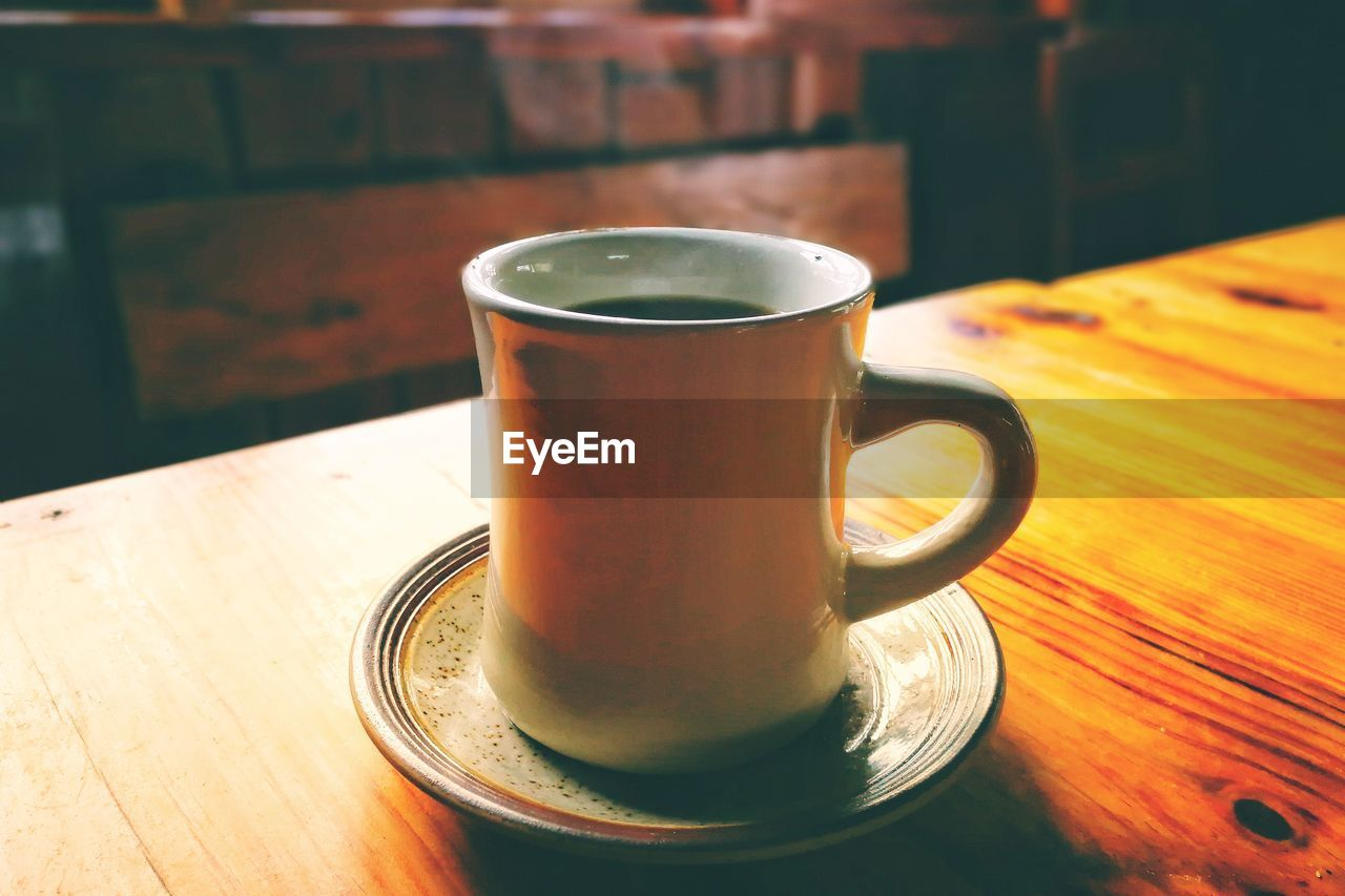 table, drink, food and drink, refreshment, coffee cup, indoors, coffee - drink, saucer, close-up, no people, wood - material, freshness, day, frothy drink