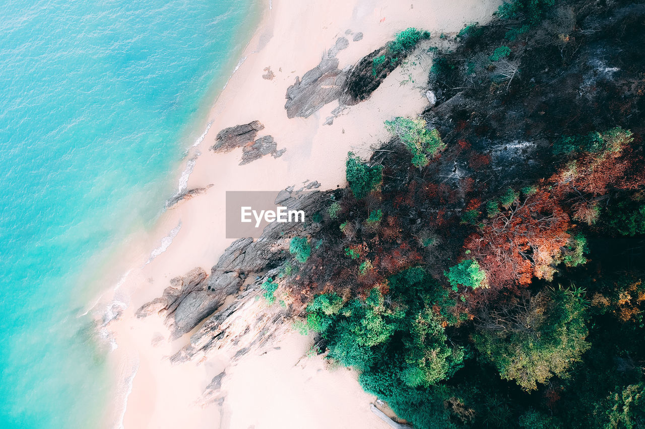 water, sea, beauty in nature, nature, beach, land, no people, high angle view, day, motion, scenics - nature, outdoors, aquatic sport, aerial view, idyllic, tranquil scene, tranquility, sport, wave, turquoise colored