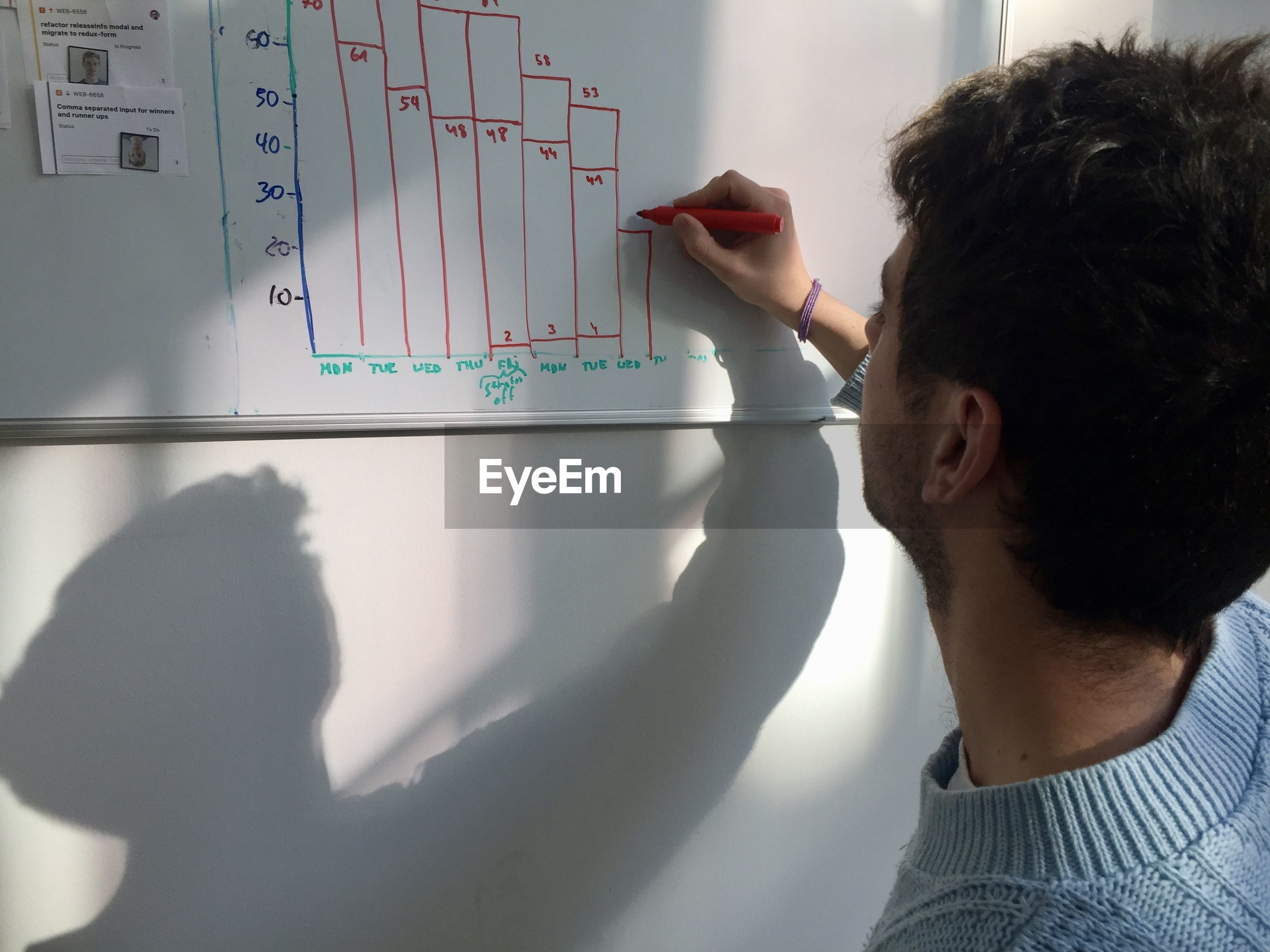Close-up of man writing on whiteboard