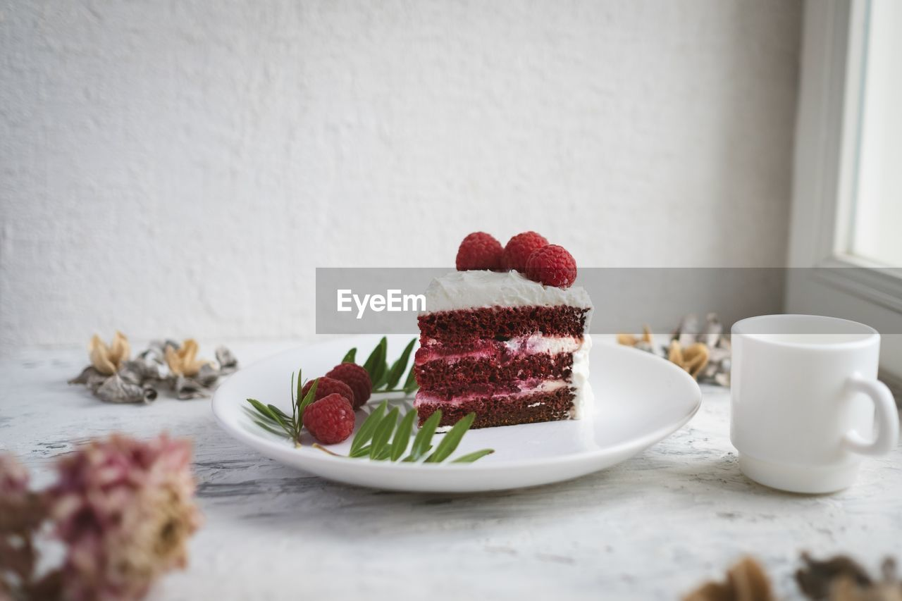 food, food and drink, sweet food, freshness, indoors, still life, table, indulgence, plate, sweet, ready-to-eat, no people, close-up, dessert, fruit, drink, cup, berry fruit, cake, temptation, crockery