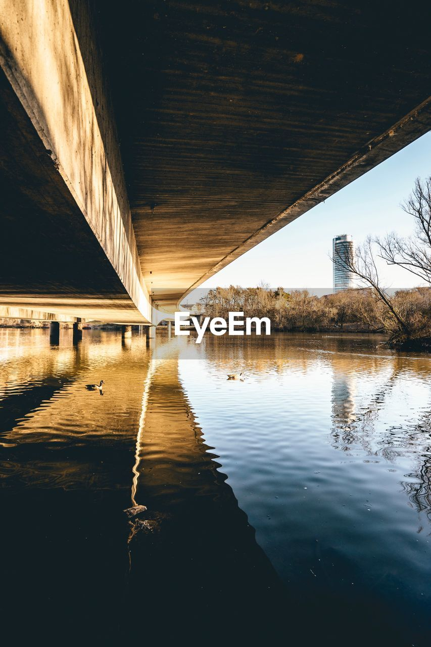 reflection, architecture, water, built structure, no people, waterfront, bridge, day, connection, bridge - man made structure, nature, transportation, river, indoors, sky, tree, underneath, architectural column, ceiling, long
