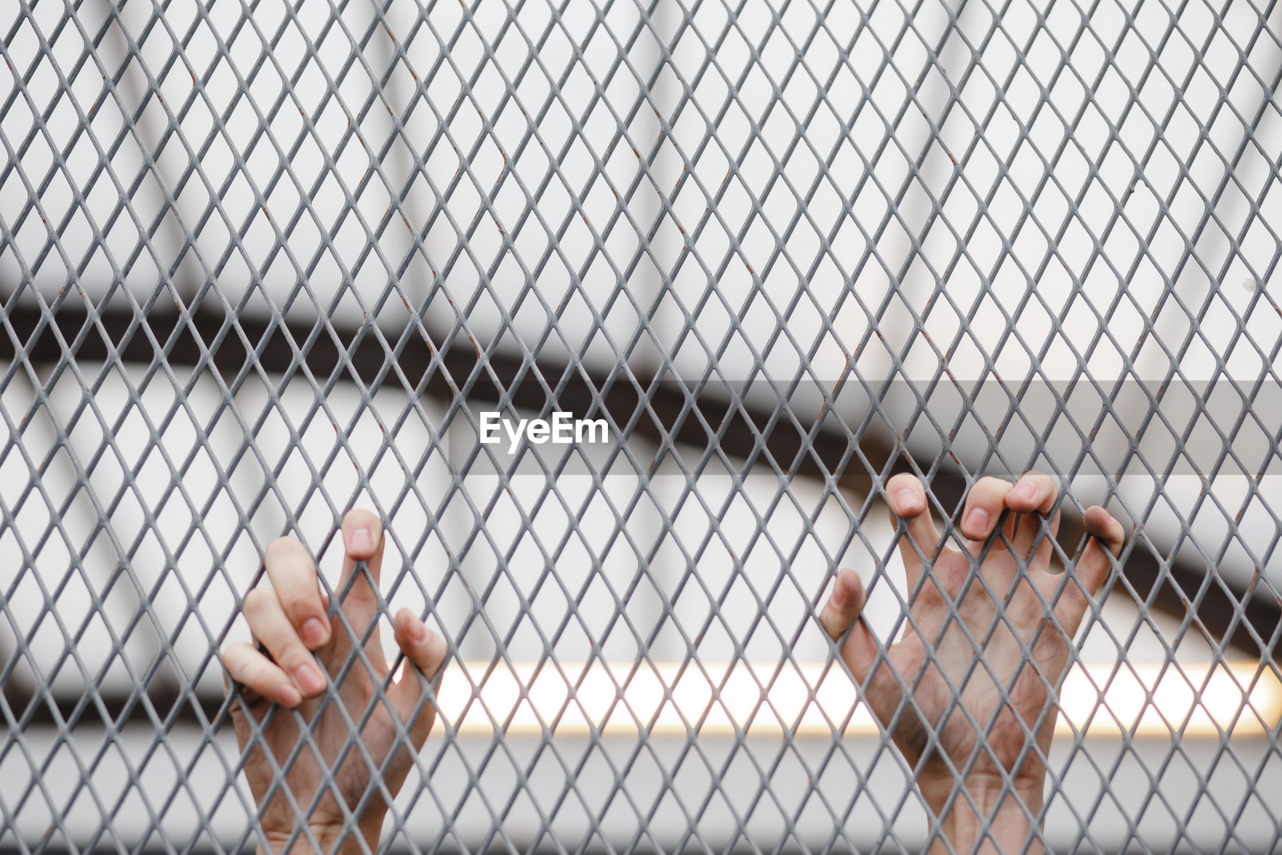 Cropped hand holding chainlink fence outdoors
