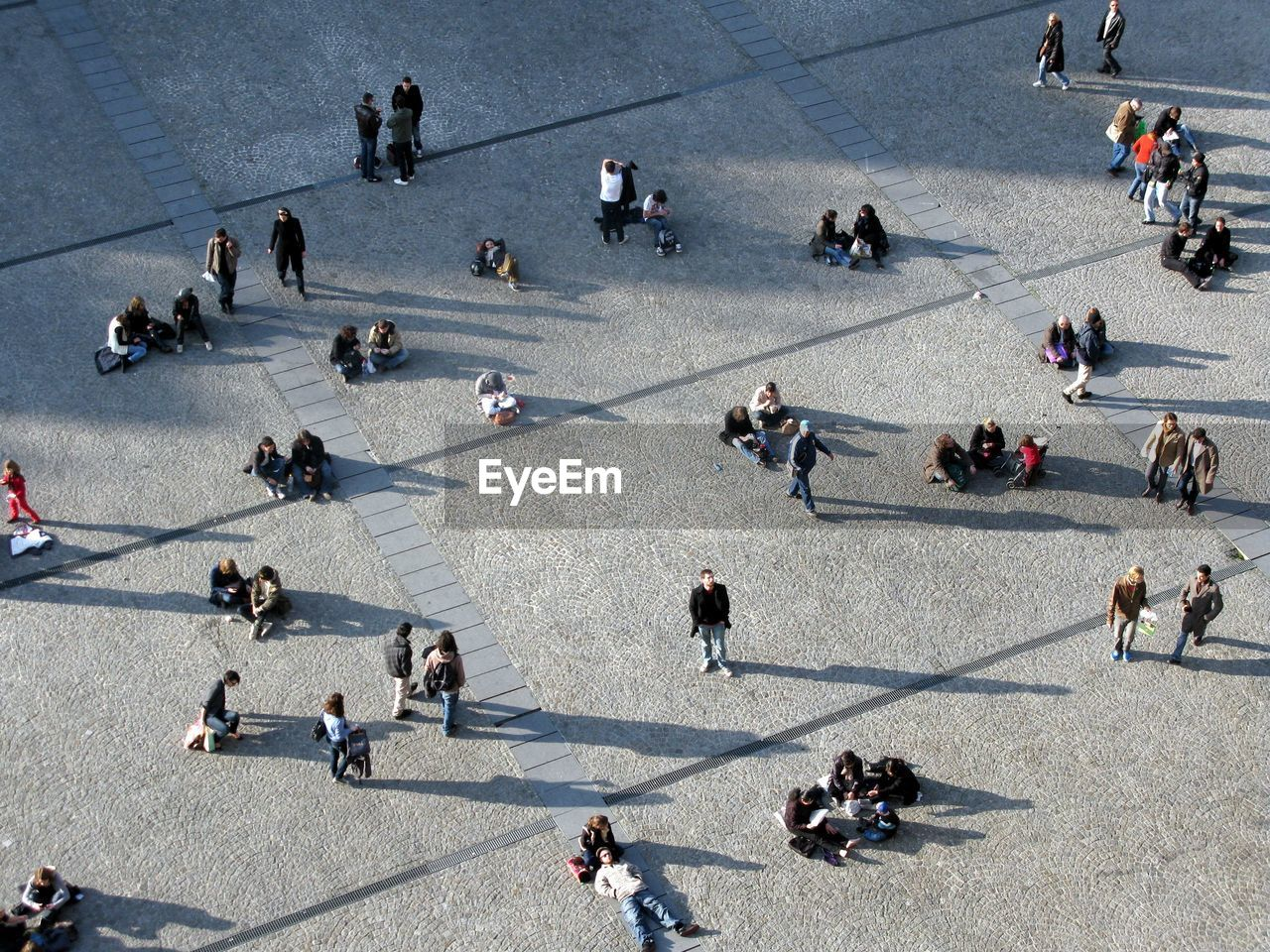 High Angle View Of People At Town Square