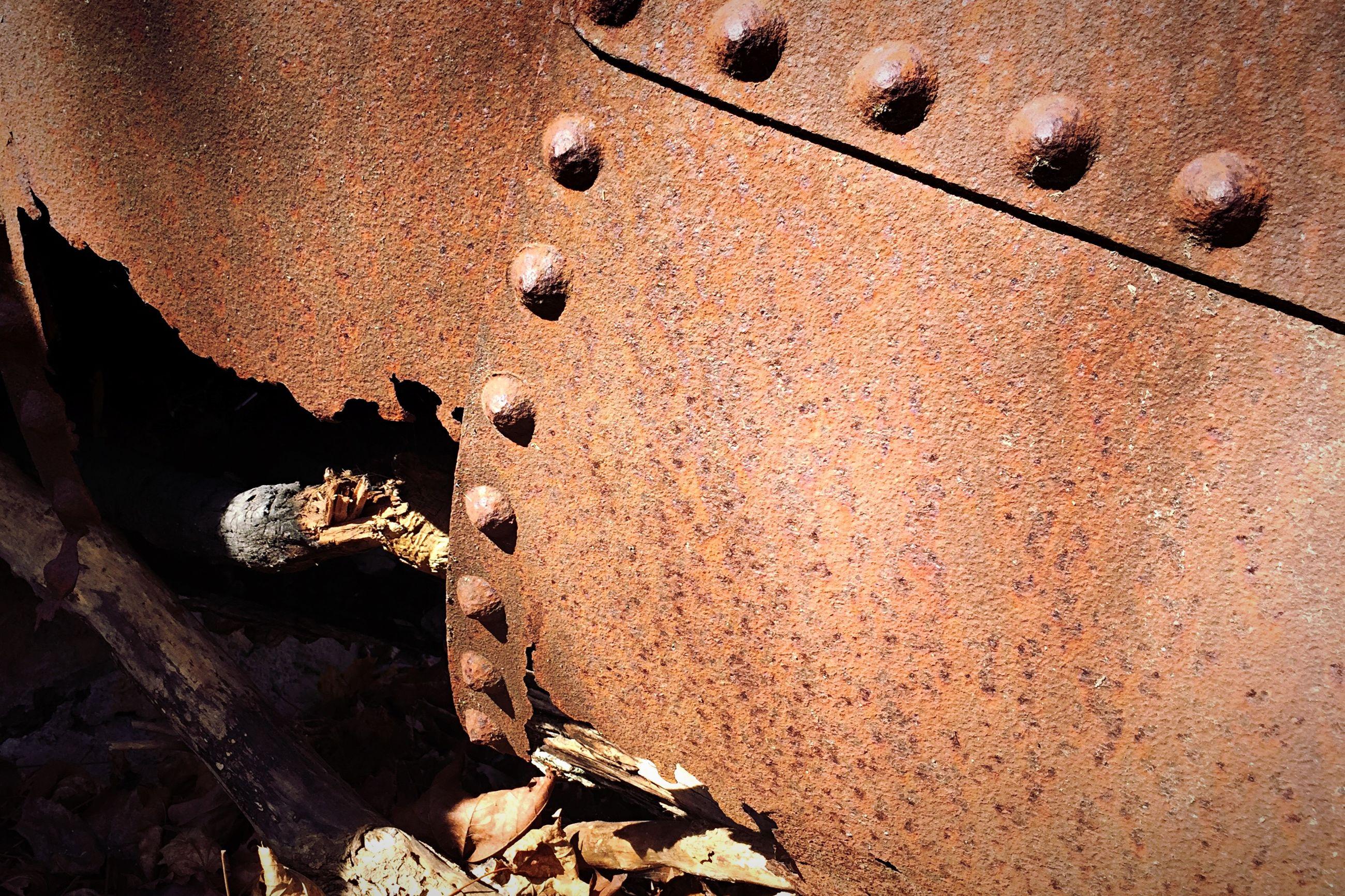 Close-up of rusty shipwreck