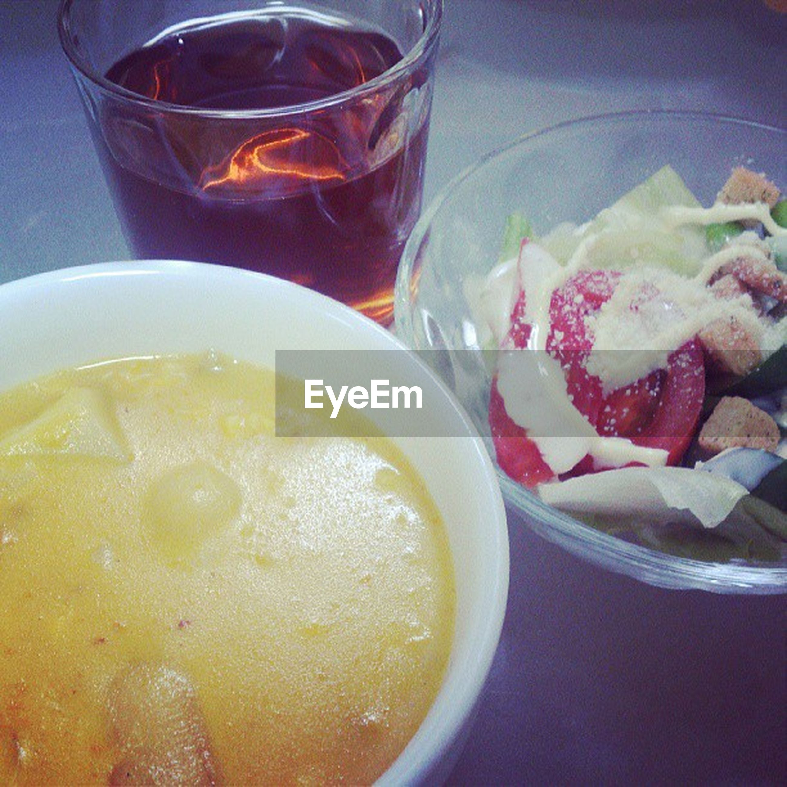 food and drink, freshness, indoors, food, drink, refreshment, still life, healthy eating, ready-to-eat, table, drinking glass, close-up, serving size, bowl, indulgence, high angle view, slice, plate, meal, spoon
