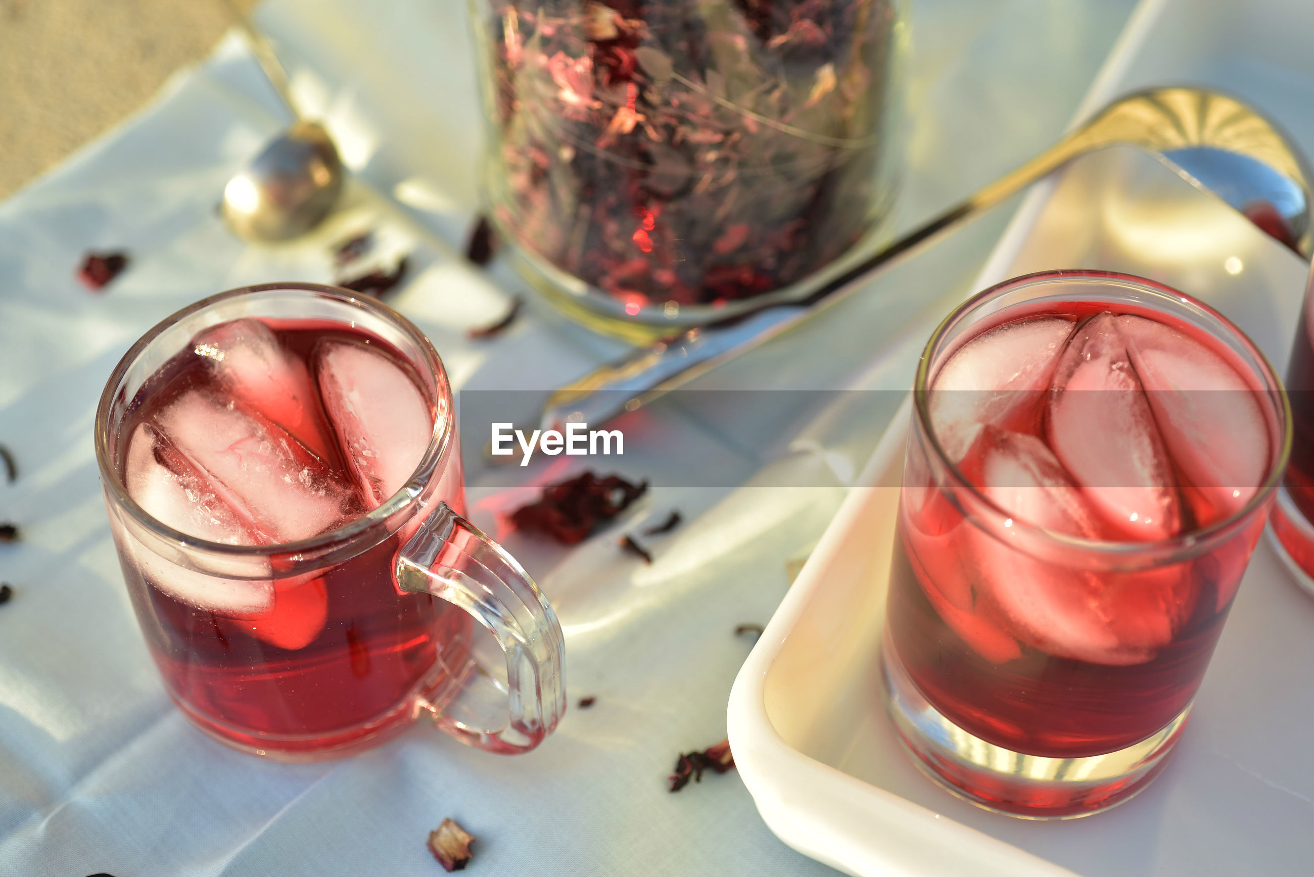 Healthy ice tea made with hibiscus flower petals