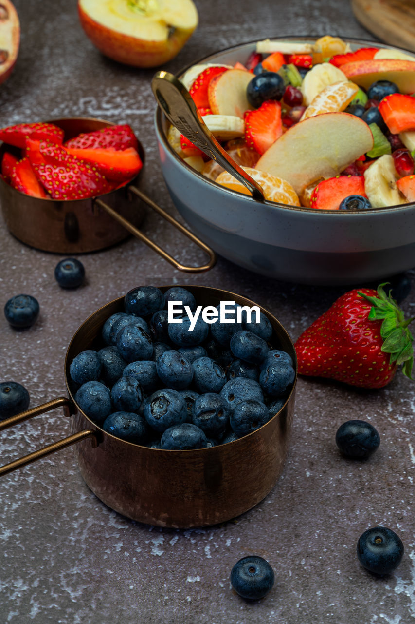 High angle view of fruit assortment on table