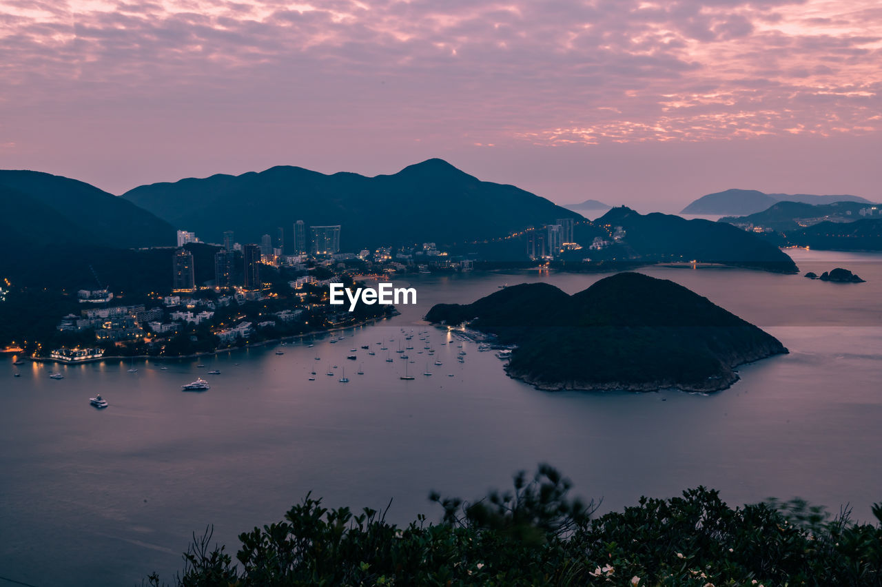 Overlooking view of deep water bay, hong kong seen form brick hill nam long shan in sunrise time