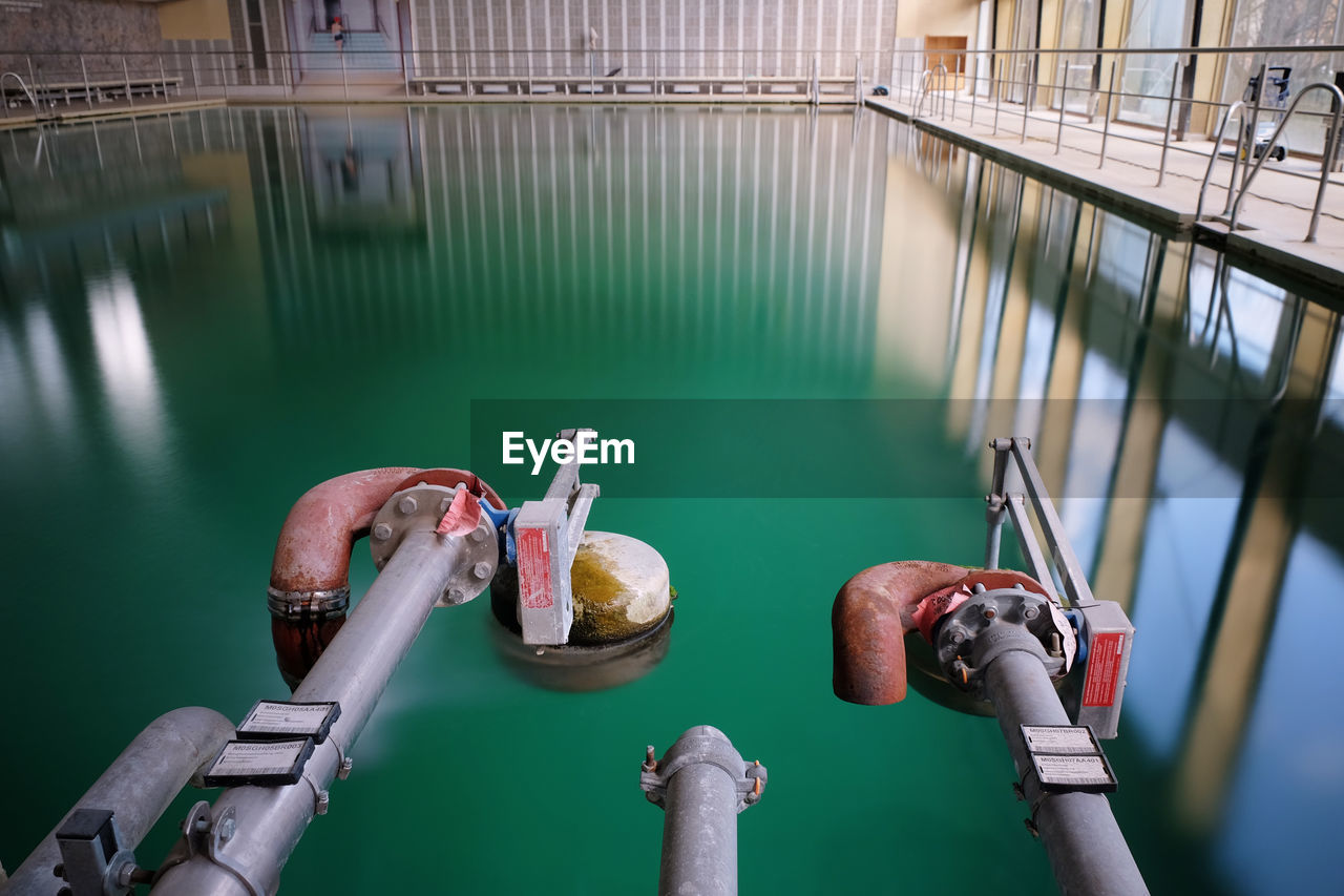 Close-up of pipes in swimming pool