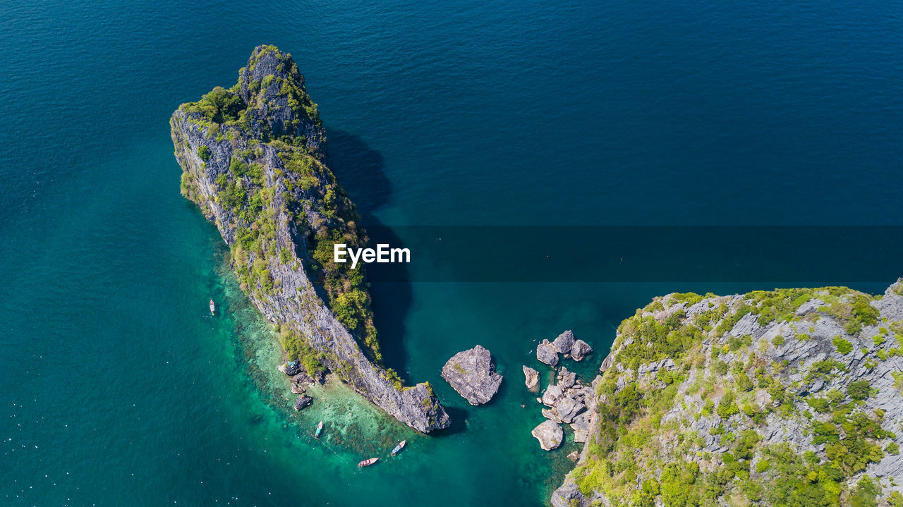 sea, water, high angle view, beauty in nature, nature, rock, scenics - nature, rock - object, solid, tranquil scene, tranquility, no people, day, outdoors, blue, idyllic, rock formation, land, underwater, turquoise colored, marine