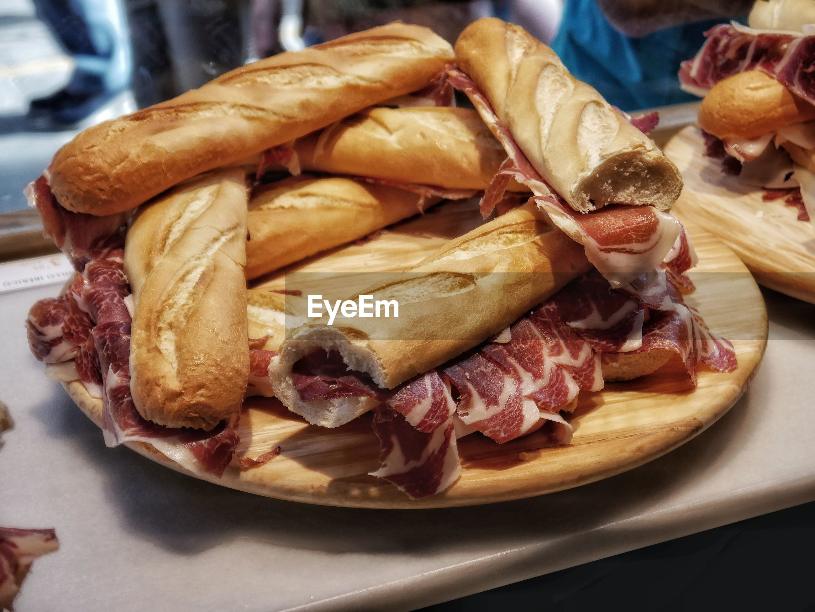 Jamon and baguette
