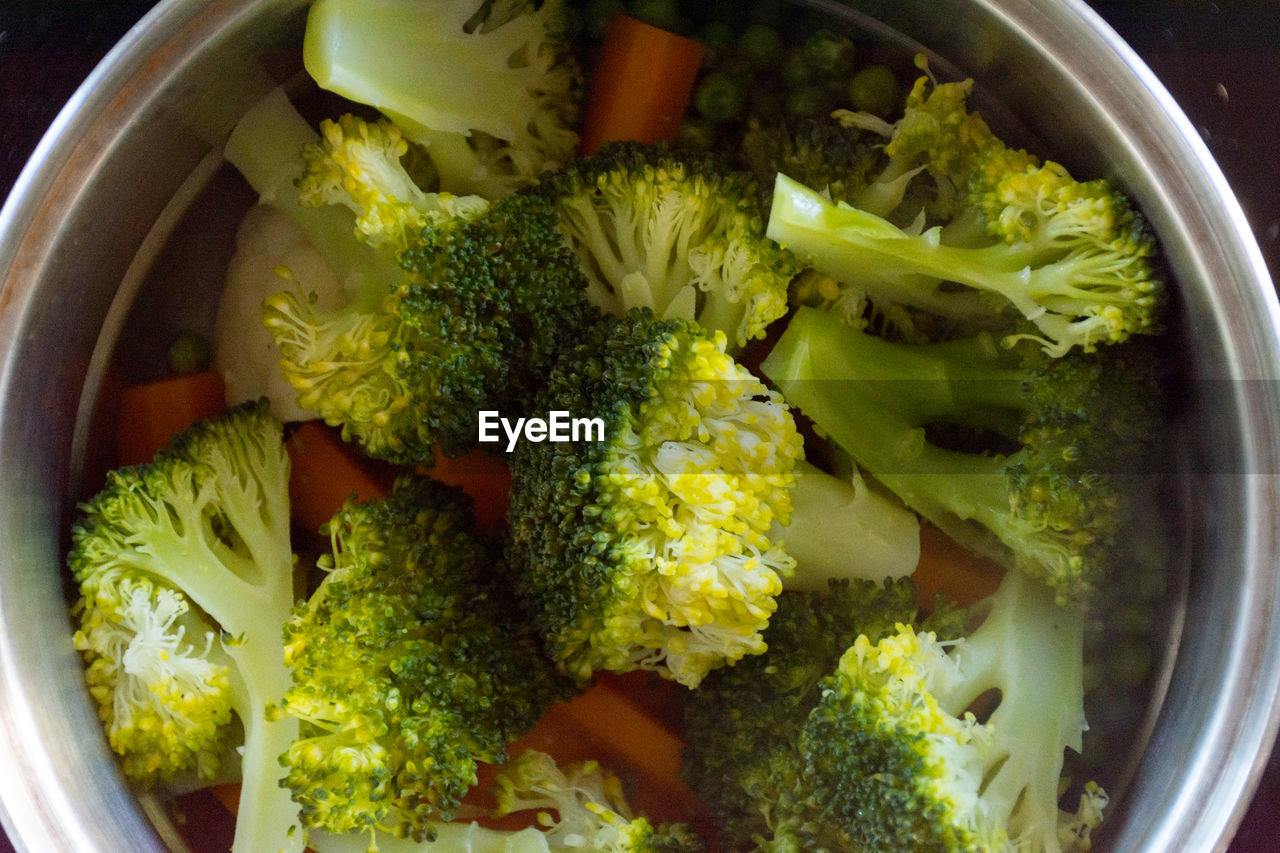 HIGH ANGLE VIEW OF CHOPPED VEGETABLE IN BOWL