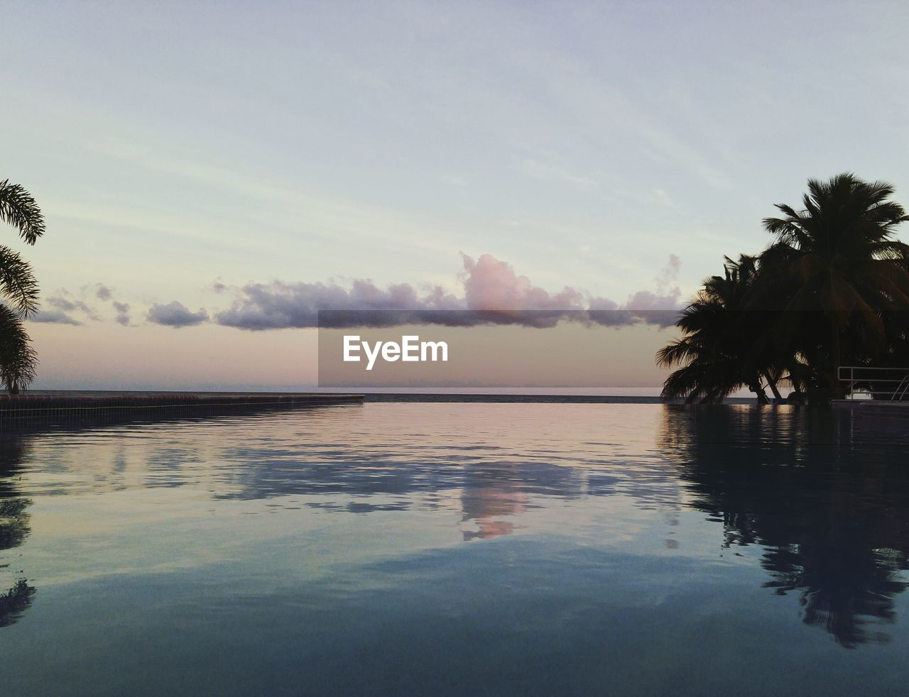 palm tree, tranquility, water, reflection, beauty in nature, tranquil scene, nature, scenics, sky, tree, no people, outdoors, sunset, day