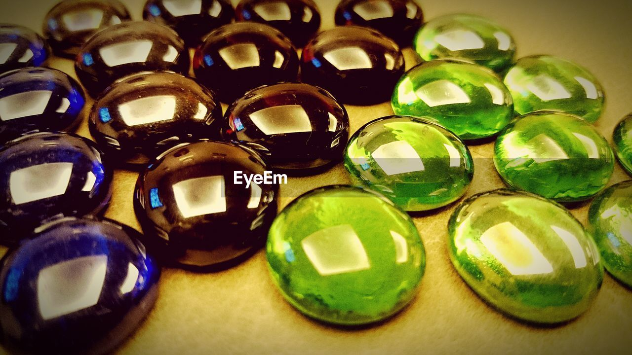 Close-up of gemstones arranged