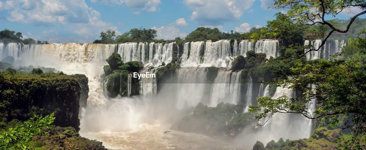 Beautiful iguazu falls against sky