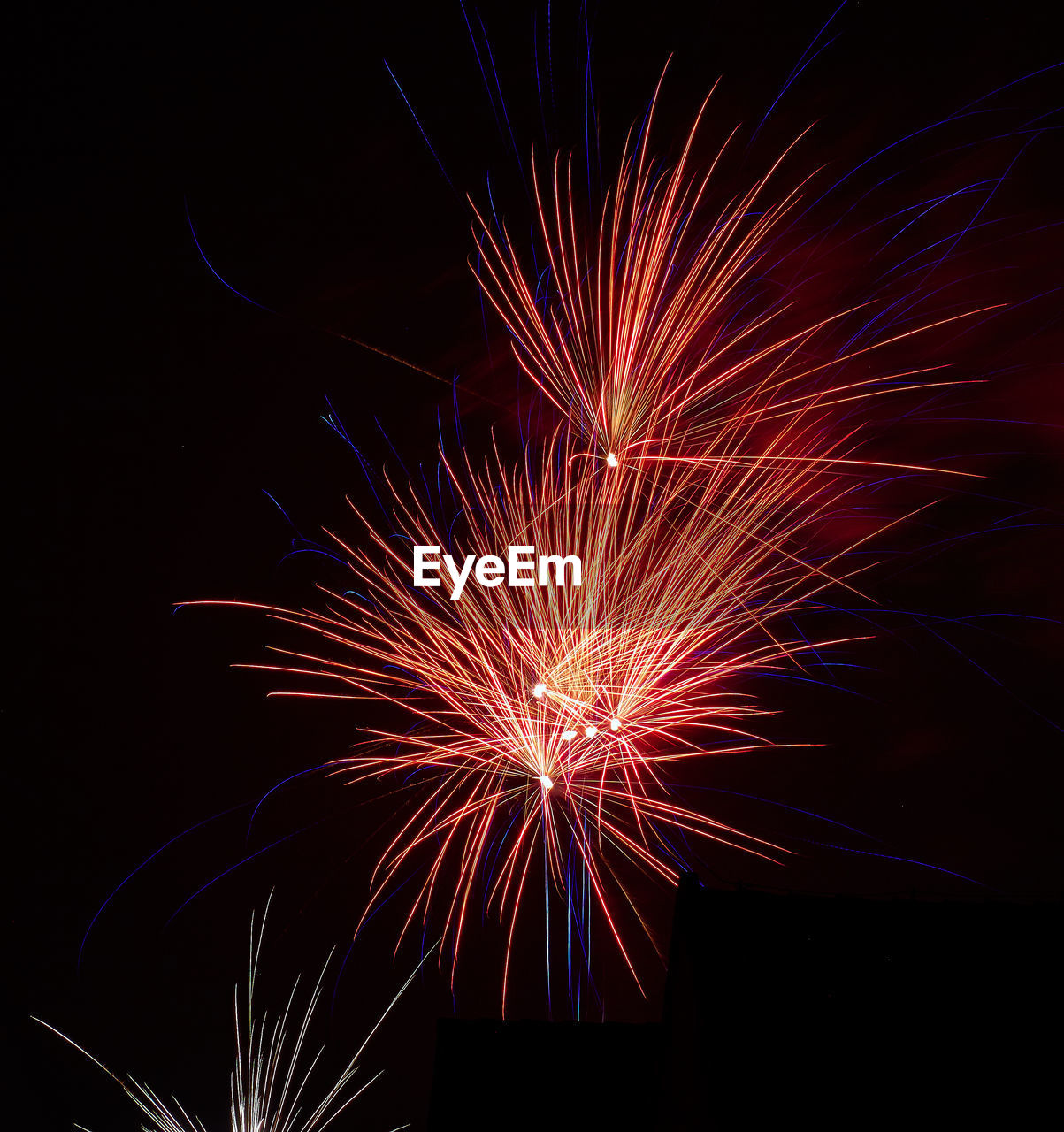 night, firework display, celebration, firework - man made object, illuminated, exploding, no people, long exposure, arts culture and entertainment, multi colored, black background, outdoors, close-up, sky