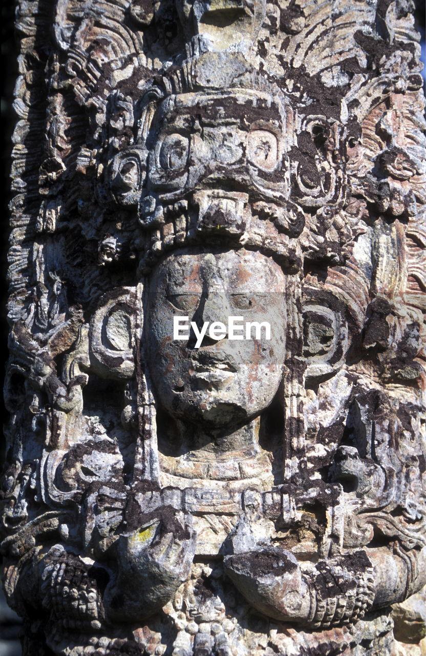 Close-Up Of Historic Sculpture At Copan Ruins