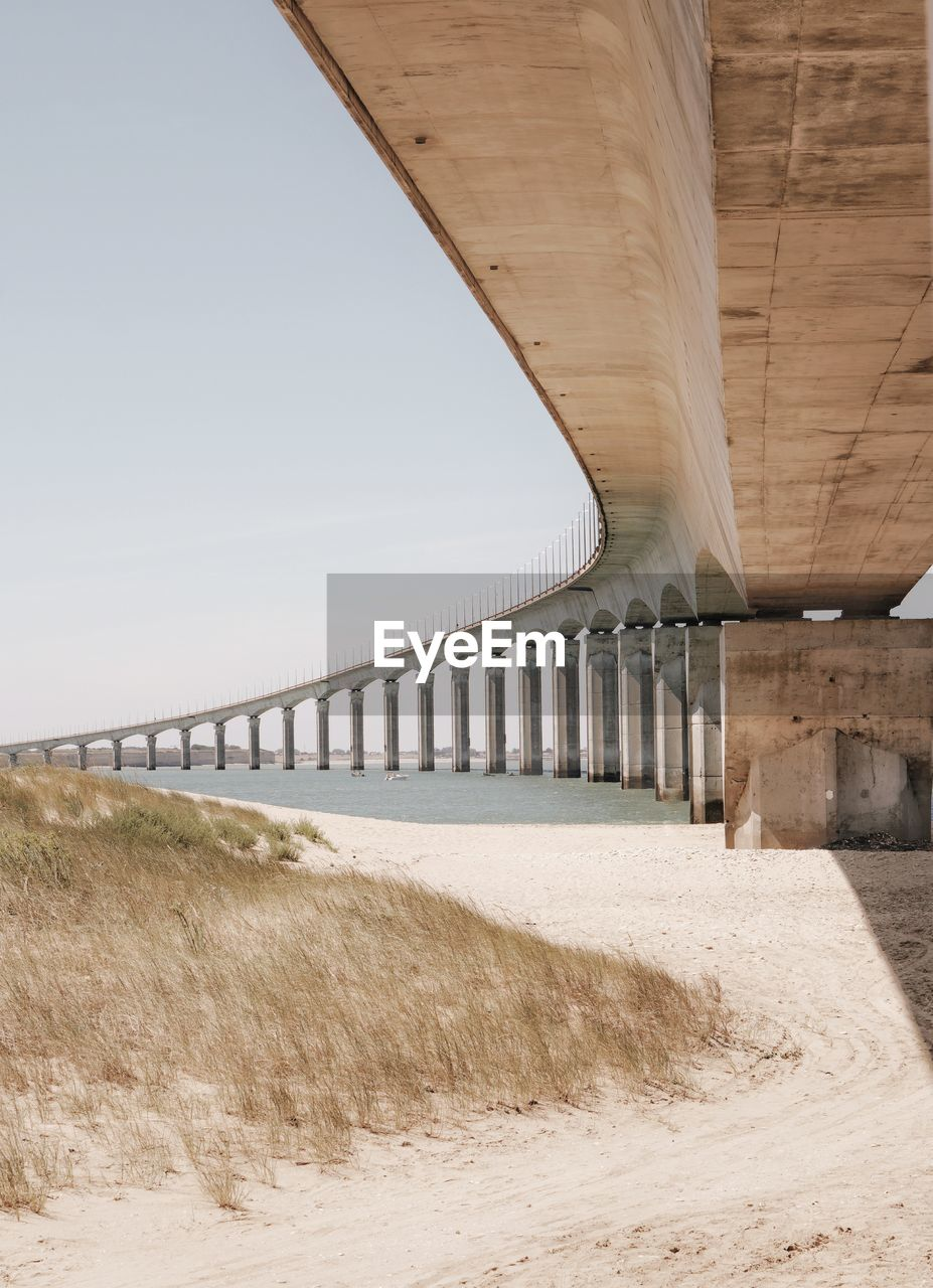 connection, bridge - man made structure, architecture, engineering, built structure, transportation, below, underneath, day, bridge, outdoors, no people, under, road, architectural column, clear sky, nature, sky