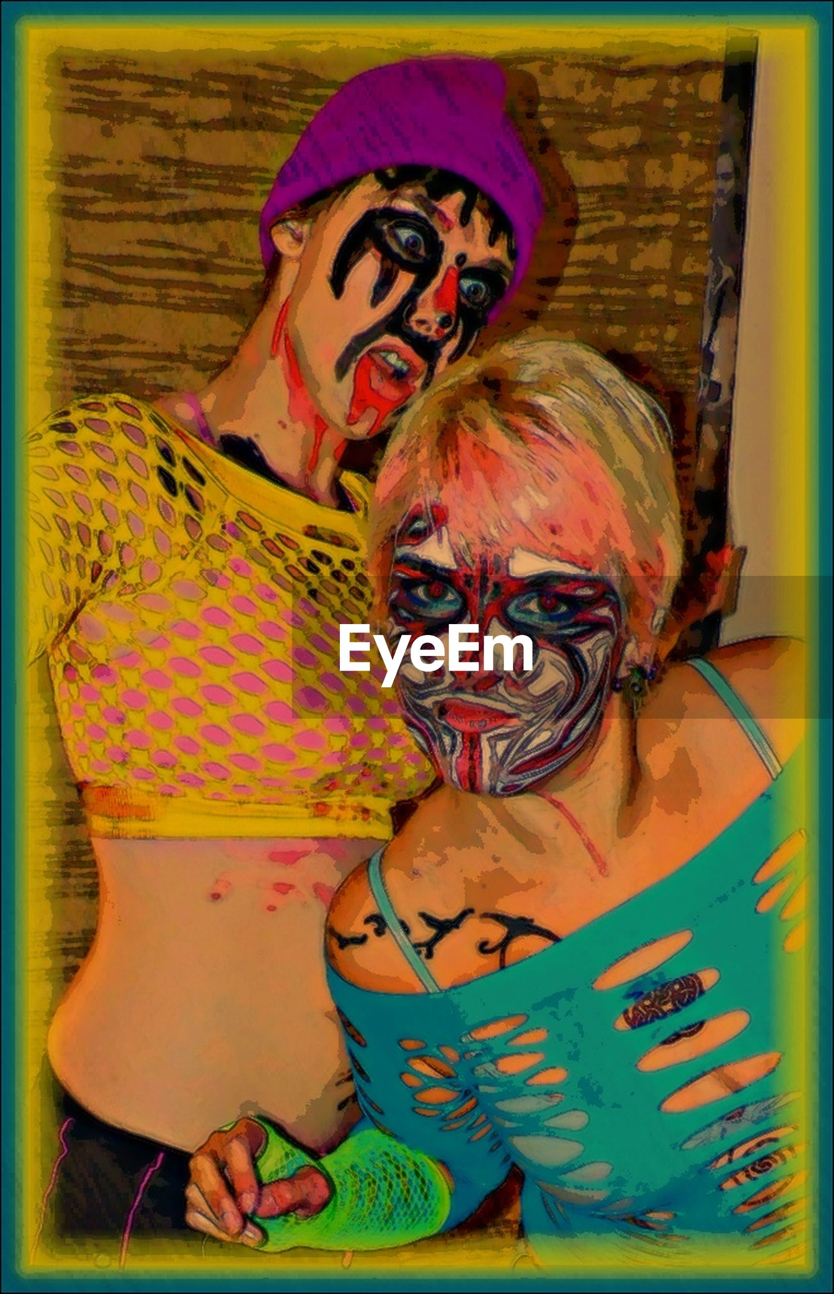 transfer print, auto post production filter, art, creativity, art and craft, portrait, looking at camera, animal representation, human representation, lifestyles, front view, indoors, leisure activity, young adult, person, multi colored, happiness