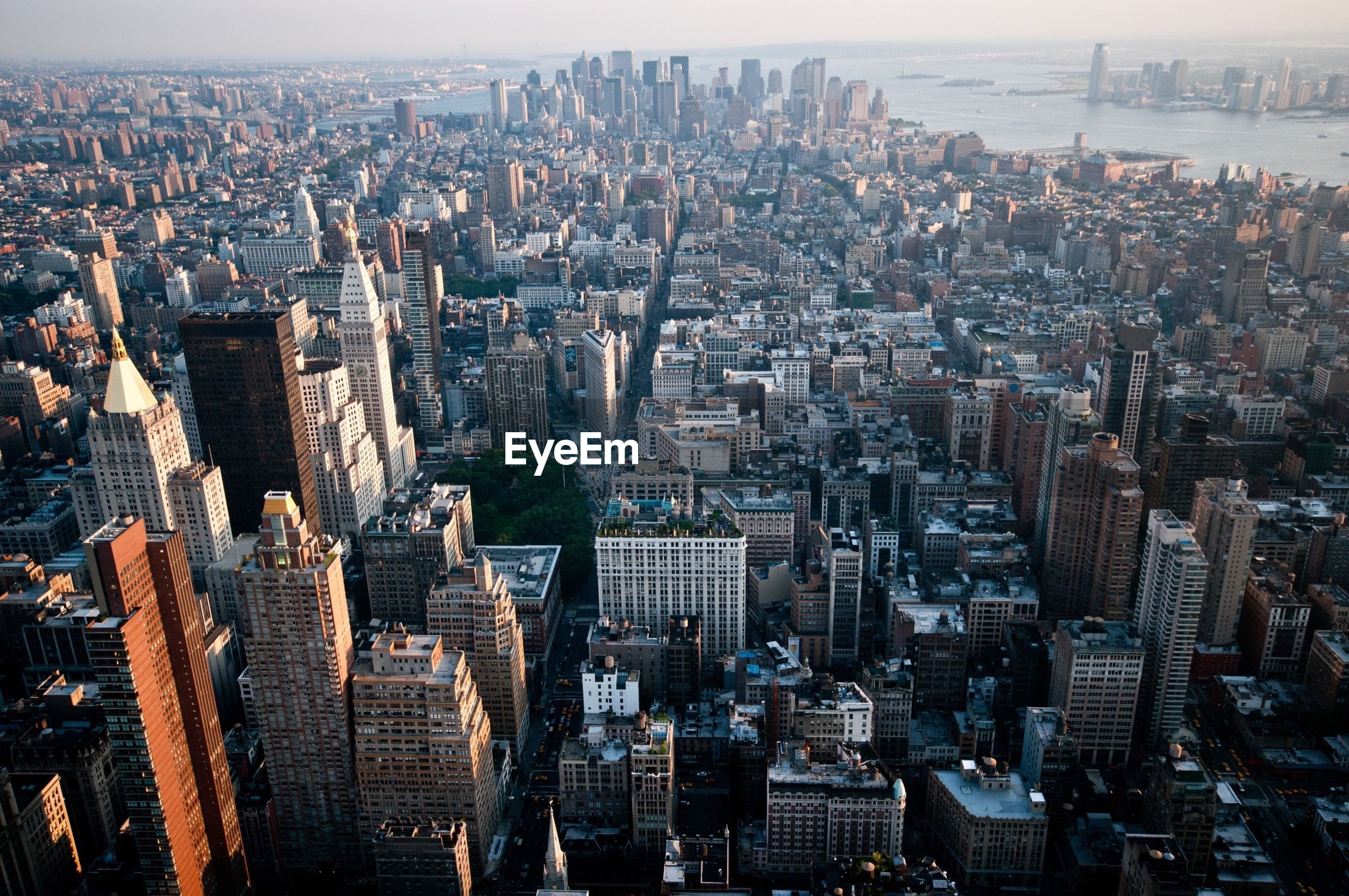 High angle view of buildings at manhattan