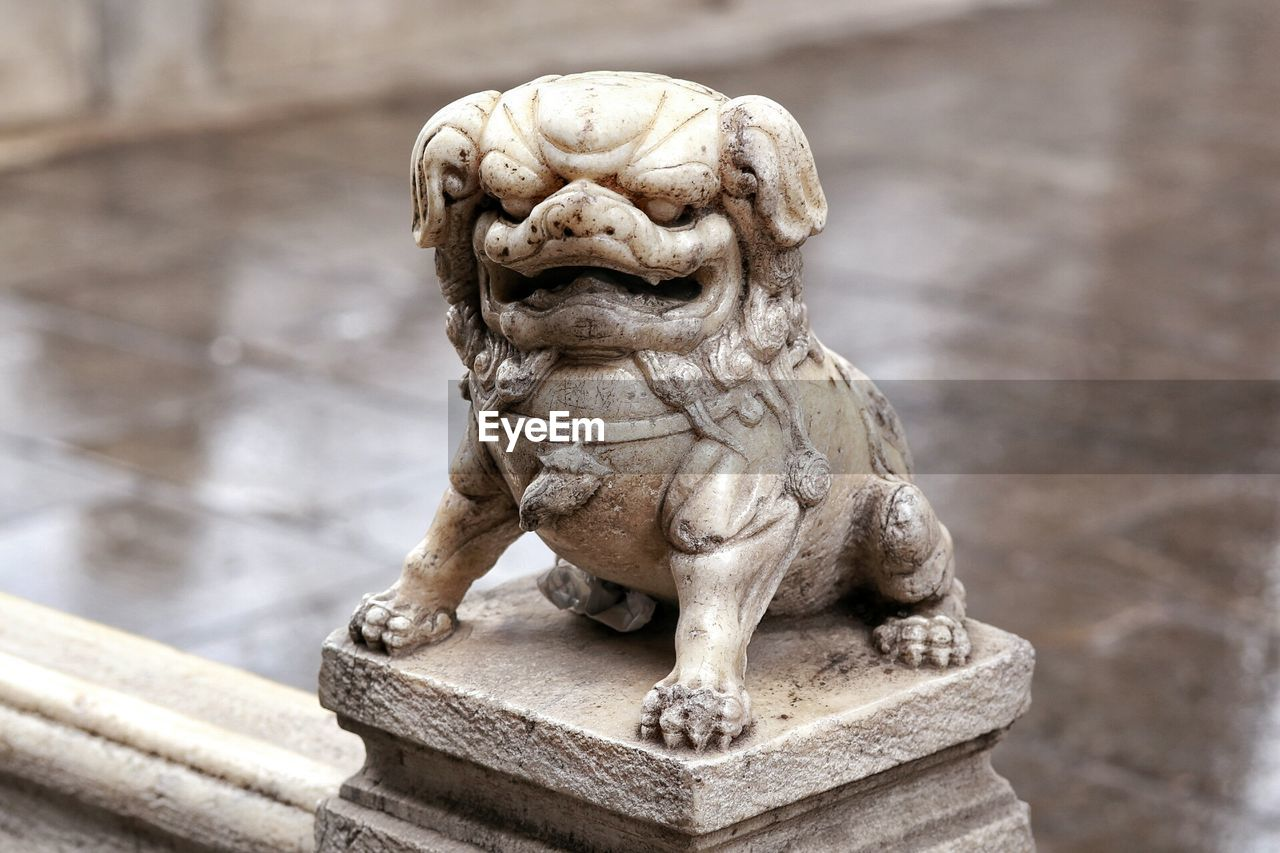 Close-Up Of Animal Statue On Railing Against Wet Street