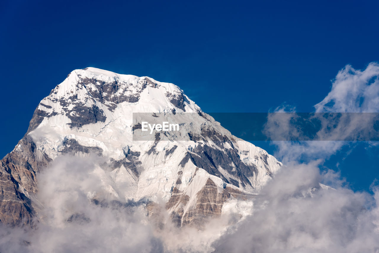 Nature view of himalayan mountain range at poon hill view point,nepal.