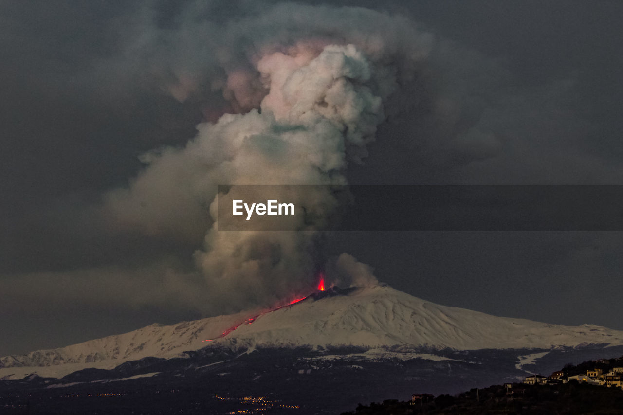 mountain, smoke - physical structure, volcano, geology, erupting, beauty in nature, sky, environment, power in nature, power, landscape, scenics - nature, non-urban scene, active volcano, cloud - sky, lava, land, nature, no people, physical geography, mountain range, outdoors, mountain peak, volcanic crater, snowcapped mountain