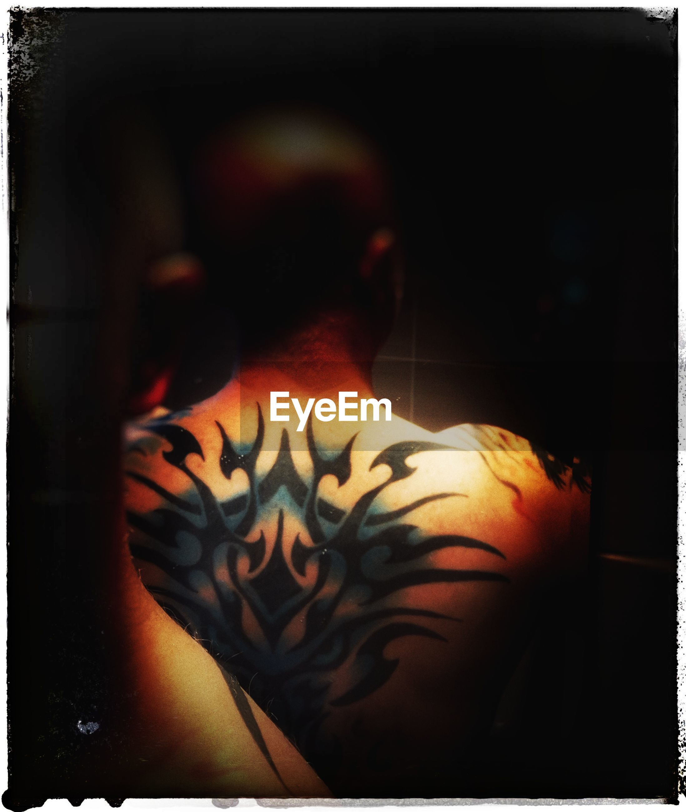 auto post production filter, transfer print, one person, tattoo, indoors, rear view, human body part, real people, human back, shirtless, creativity, adult, lifestyles, women, body part, art and craft, waist up, hand