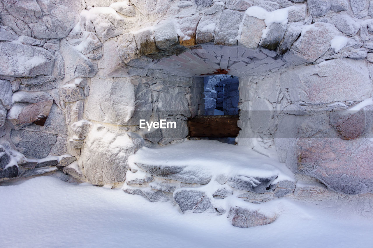 Entrance of cave during winter