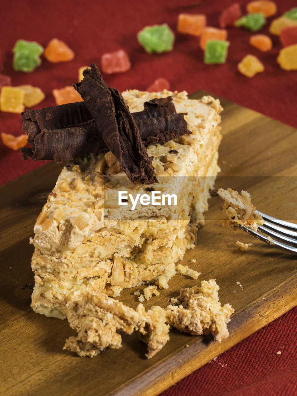 Close-up of cake on cutting board