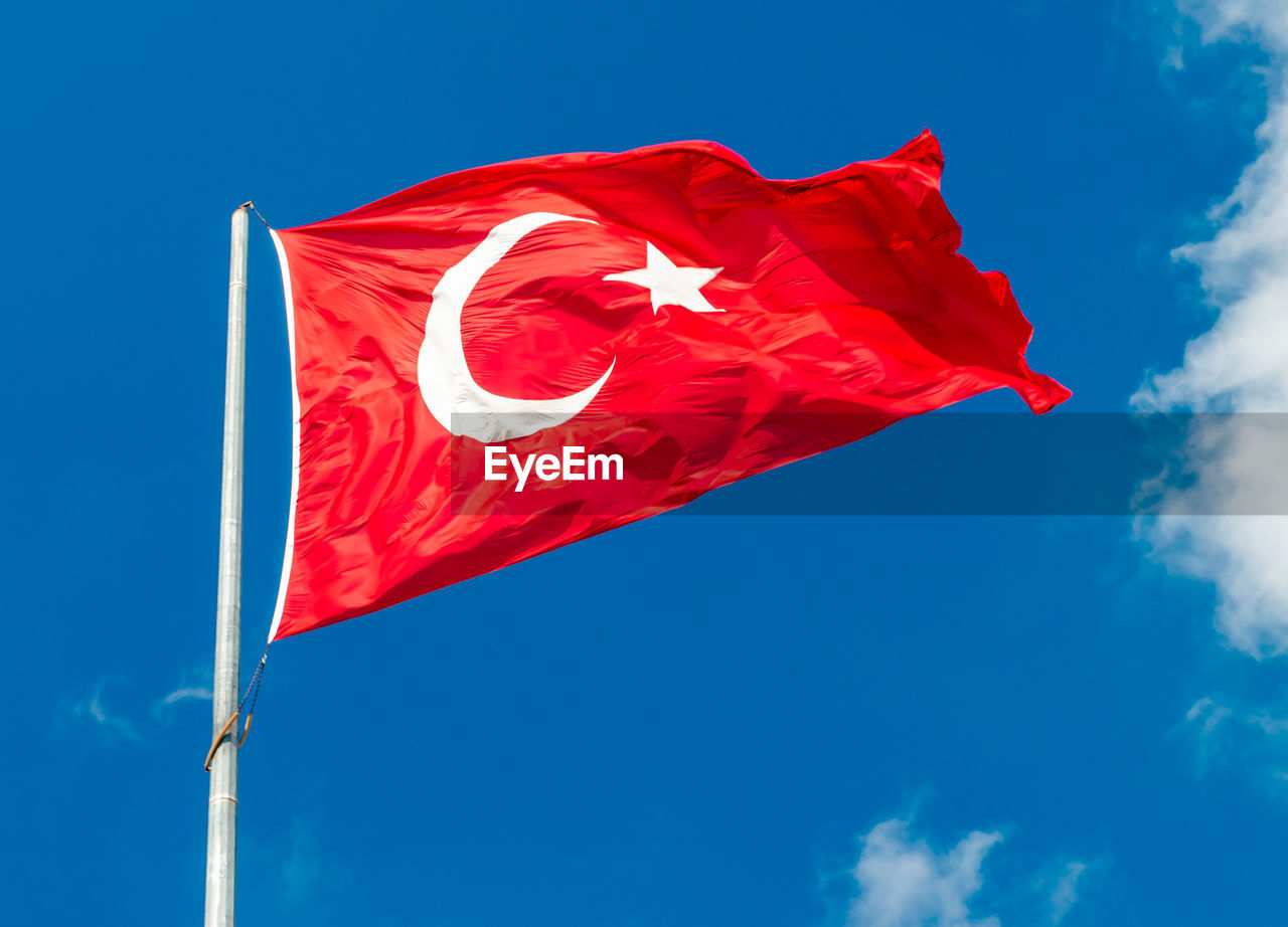 Low angle view of flag against clear sky