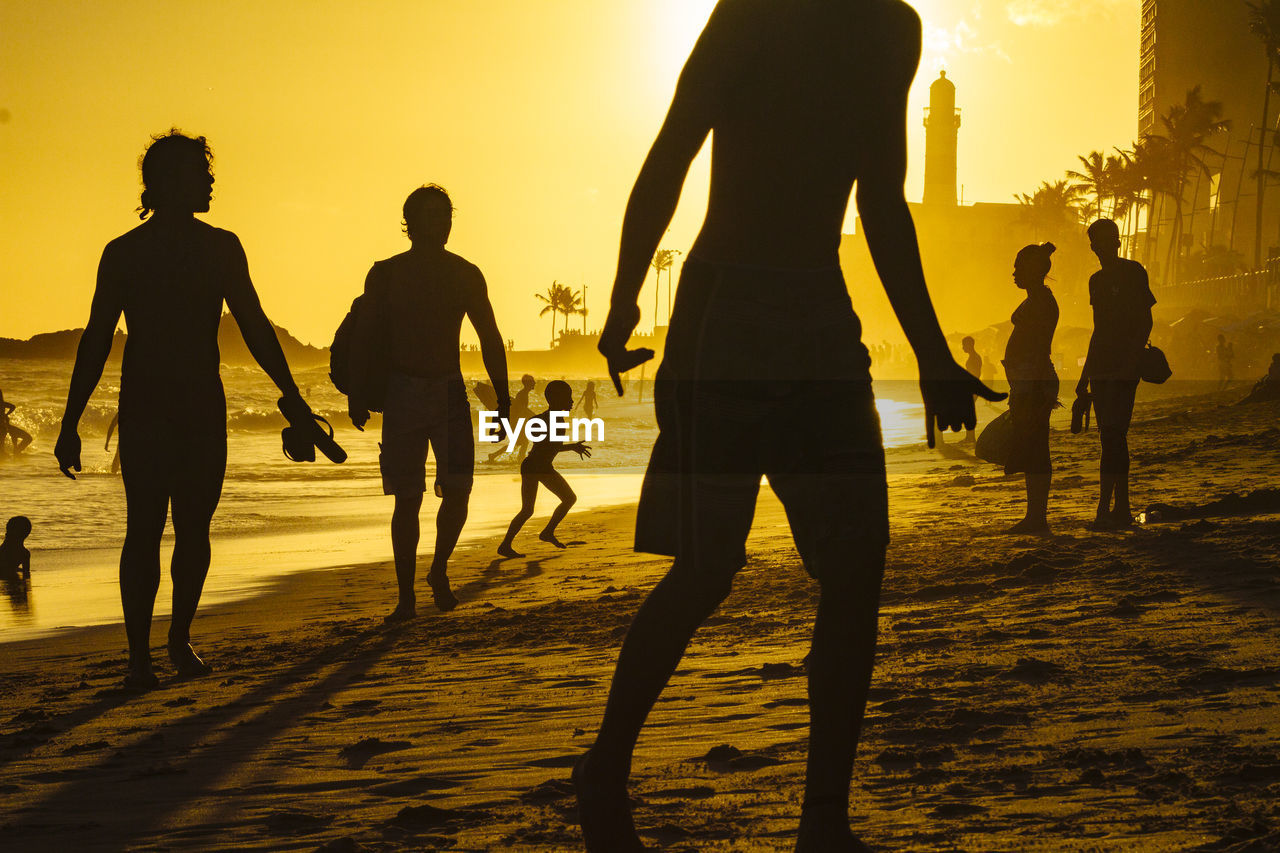 Silhouette People Enjoying On Beach Against Sky During Sunset