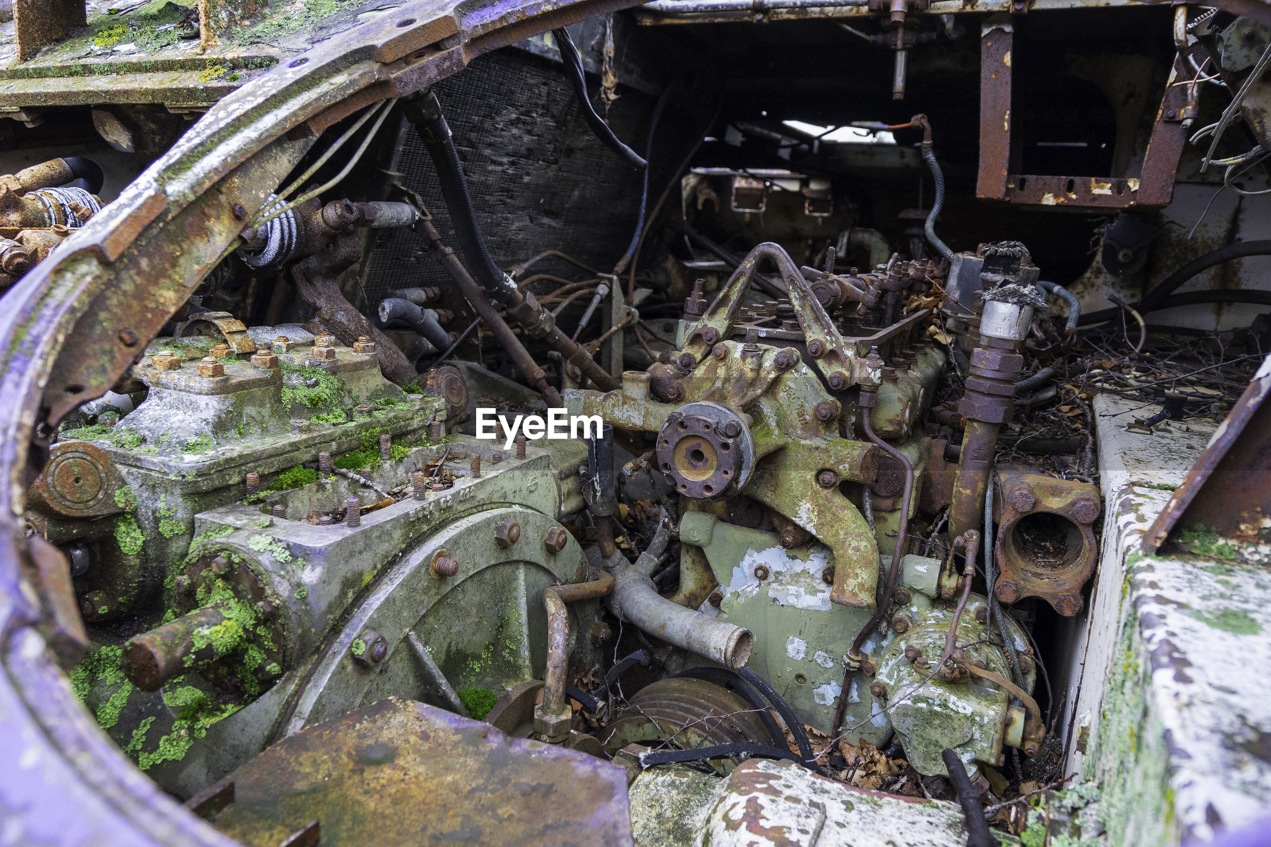 High angle view of old tank engine