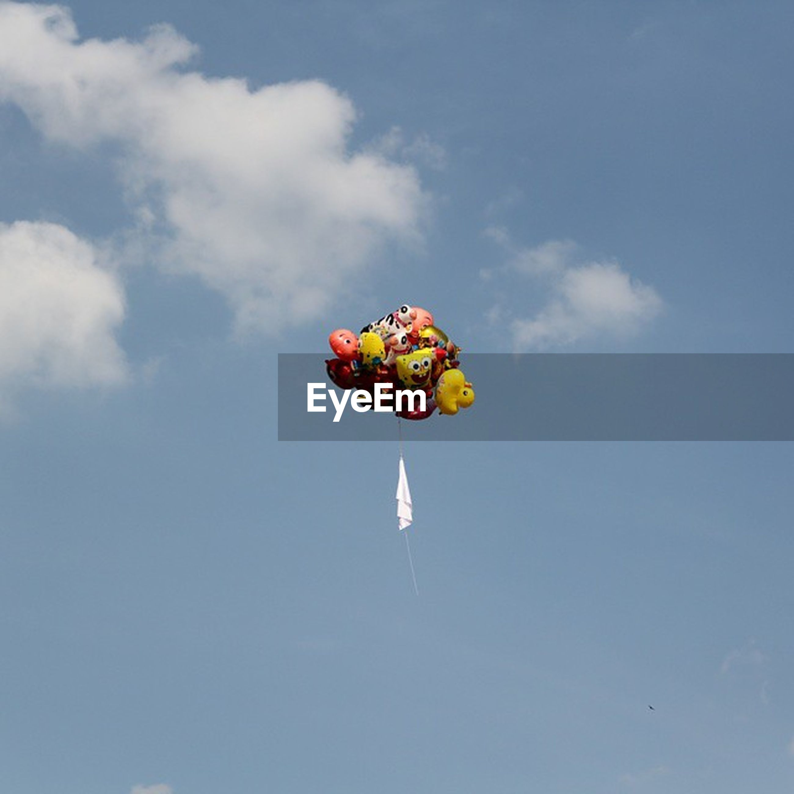 low angle view, sky, multi colored, mid-air, blue, cloud - sky, nature, flying, day, outdoors, beauty in nature, hanging, reflection, no people, cloud, colorful, animal themes, water, celebration, tranquility