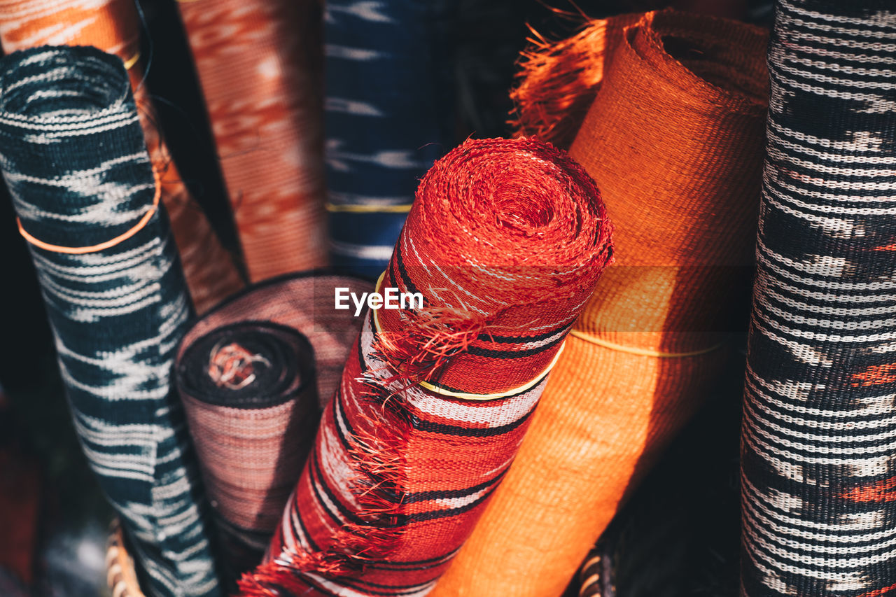 Full frame shot of textiles for sale in store