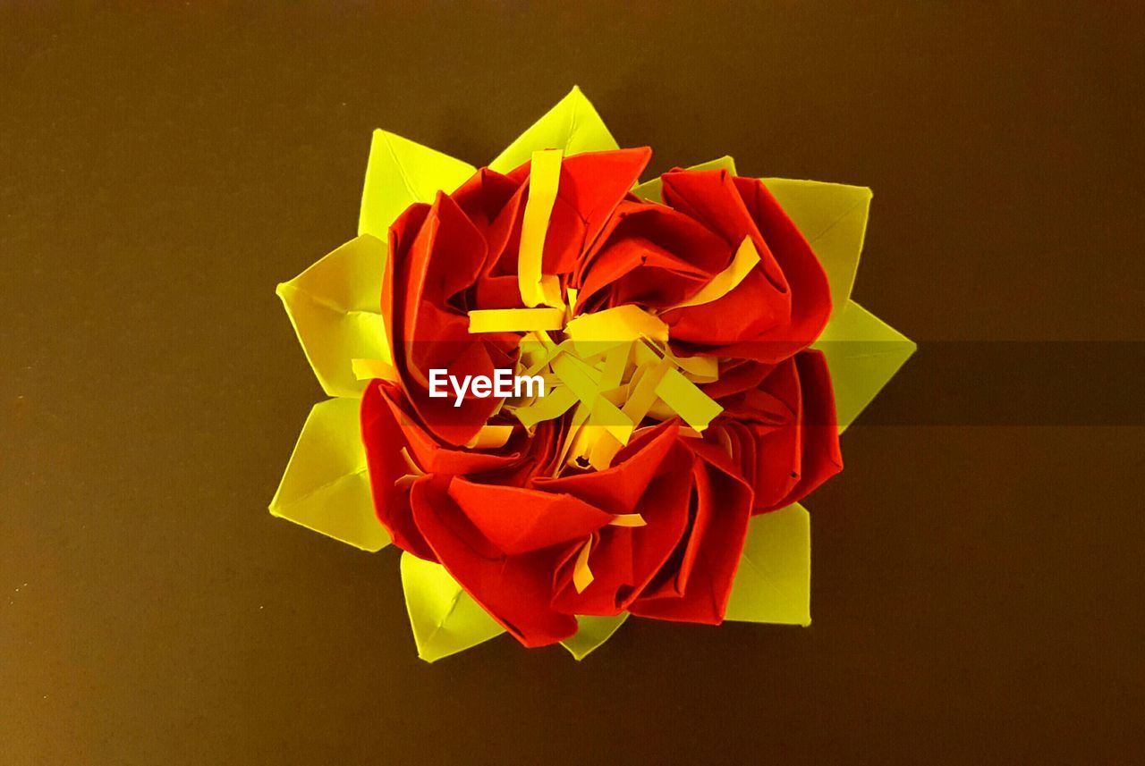 studio shot, flower, no people, yellow, close-up, ribbon - sewing item, petal, red, directly above, indoors, gift, paper, flower head, fragility, freshness, day
