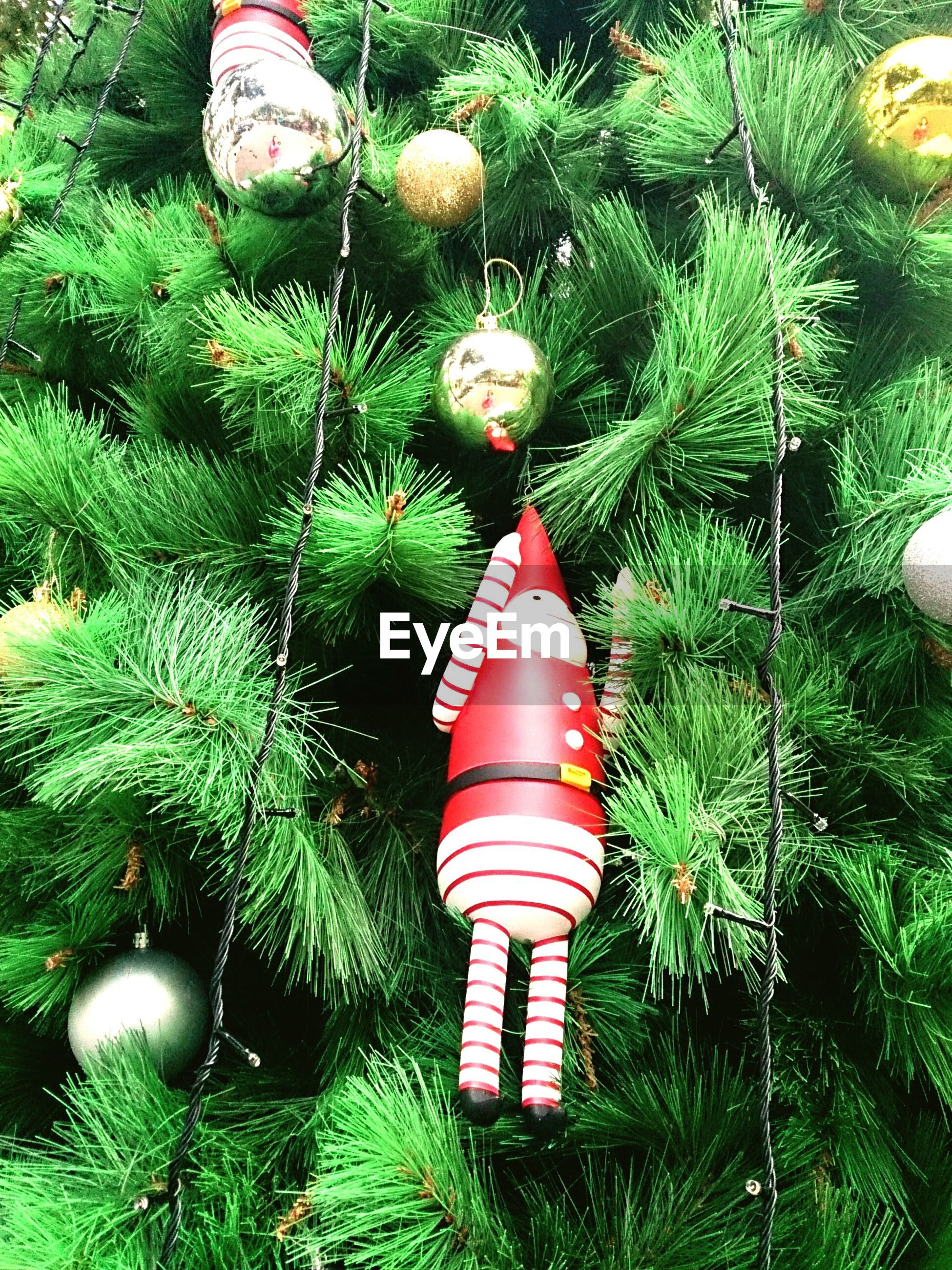 Low angle view of decorations hanging on christmas tree