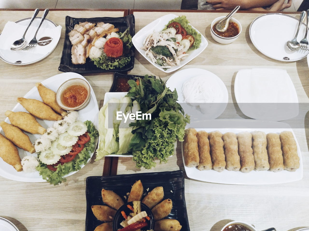 food and drink, food, table, freshness, ready-to-eat, healthy eating, plate, serving size, indoors, meal, high angle view, directly above, wellbeing, still life, bowl, no people, meat, choice, household equipment, drink, glass, tray, temptation, snack