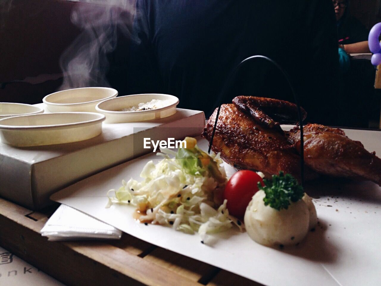 Close-up of fresh roasted food at restaurant