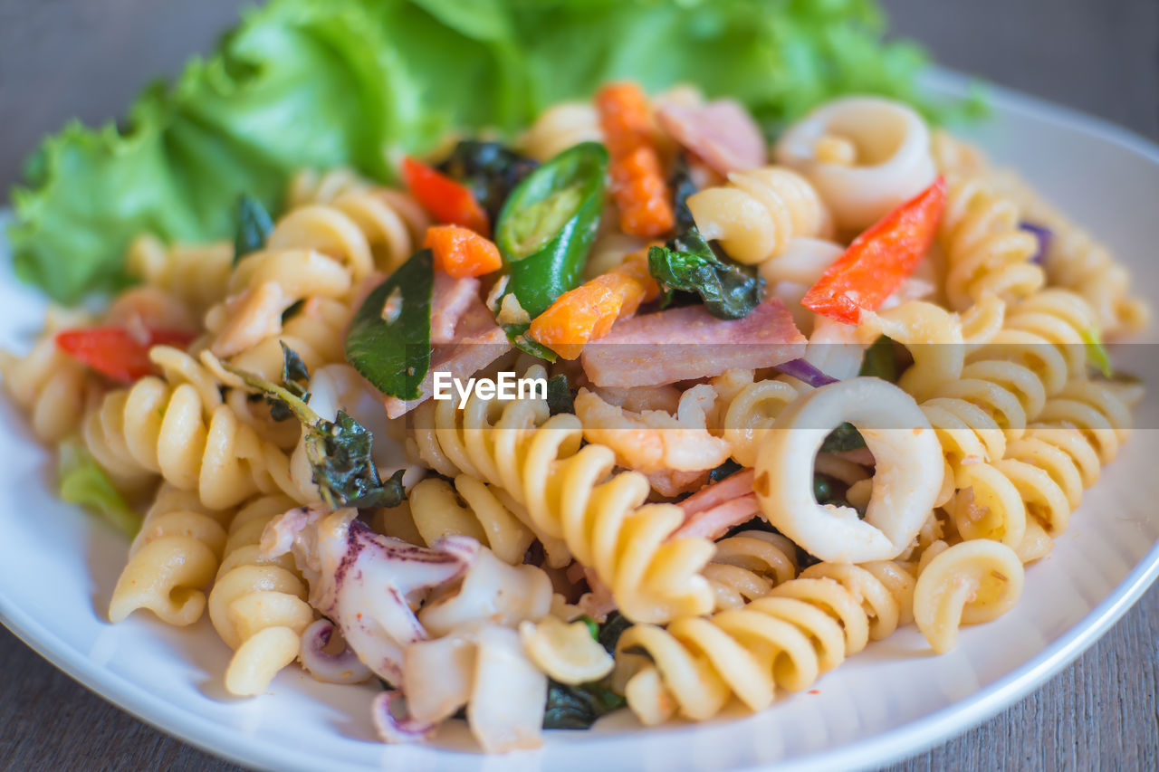 Close-Up Of Pasta Served In Plate