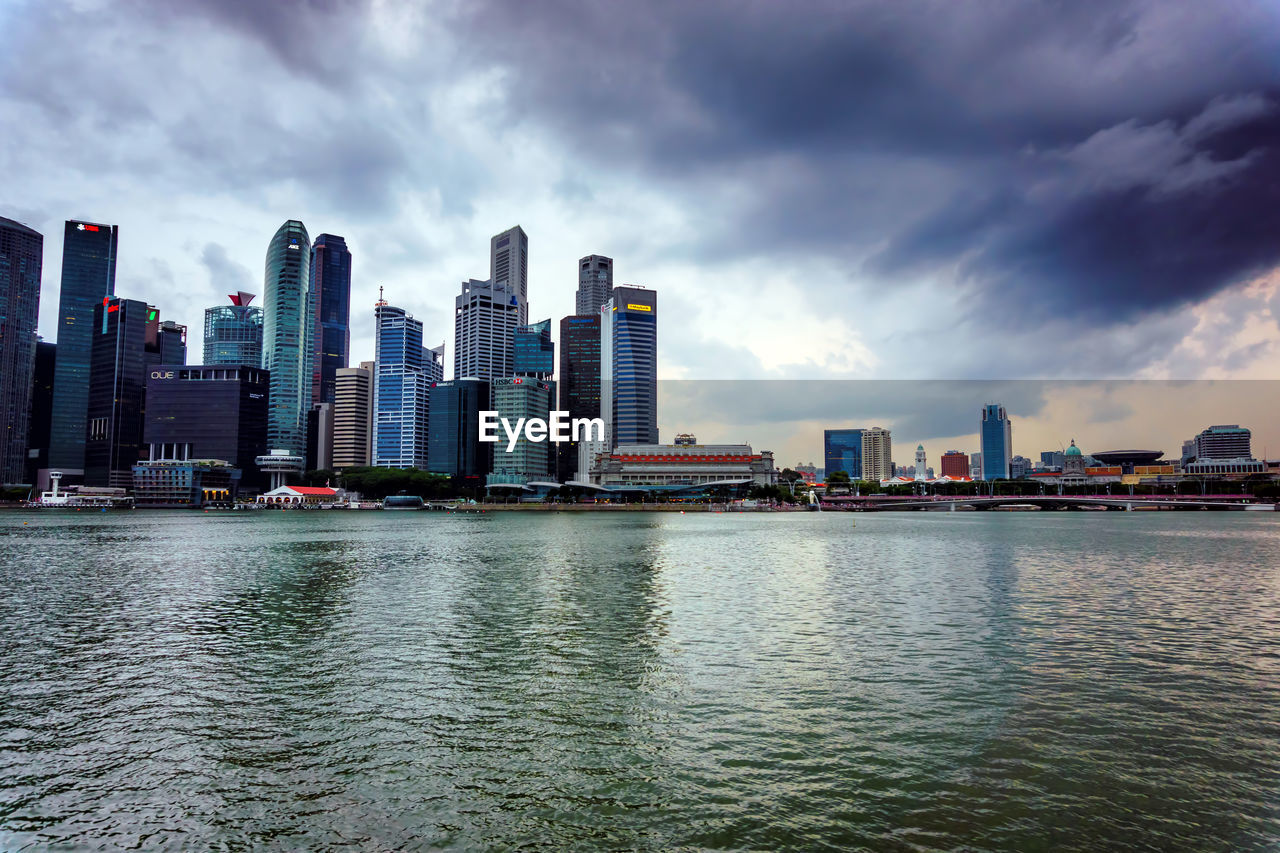 architecture, sky, building exterior, built structure, water, city, cloud - sky, waterfront, building, urban skyline, landscape, nature, office building exterior, skyscraper, office, sea, no people, tall - high, cityscape, modern, outdoors, financial district