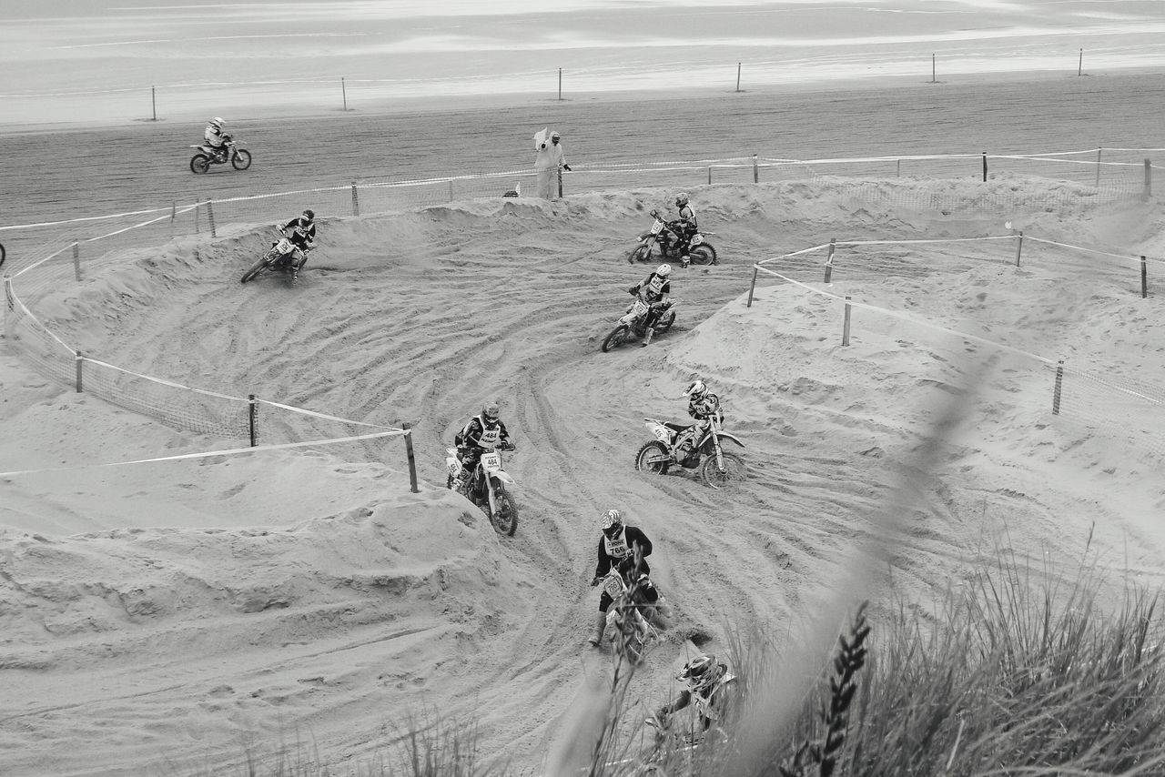 High Angle View Of Dirt Bike Racers During Enduropale At Le Touquet Beach