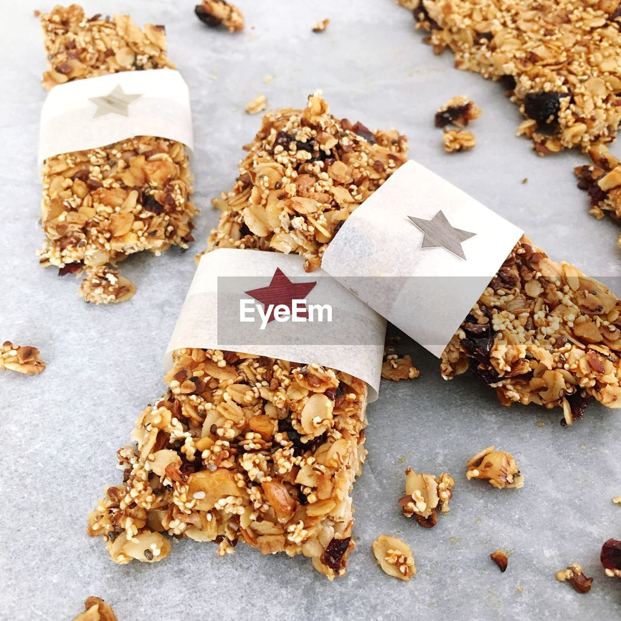 High angle view of protein bars on table