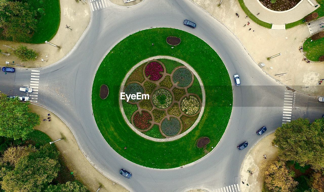 Aerial View Of Roundabout In City