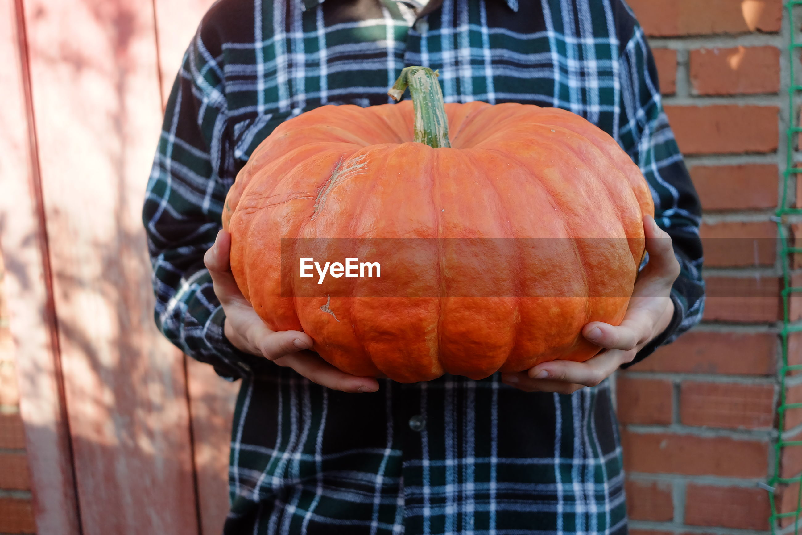 MIDSECTION OF MAN HOLDING PUMPKIN WHILE STANDING OUTDOORS