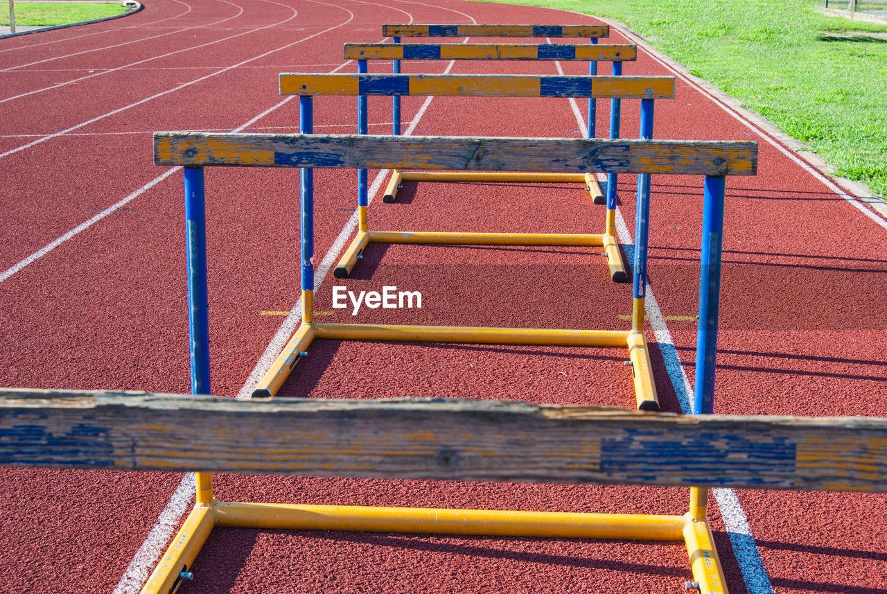 Hurdles on running track
