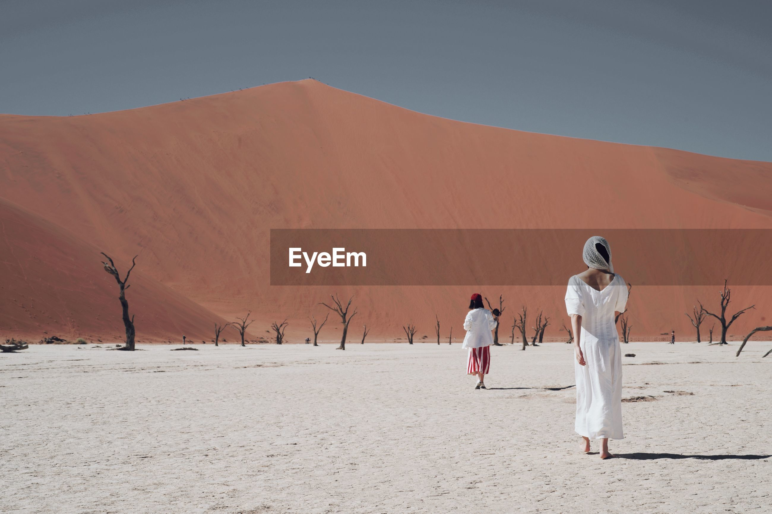 real people, land, desert, rear view, sand, scenics - nature, women, two people, landscape, men, sky, lifestyles, nature, walking, arid climate, people, togetherness, sand dune, adult, full length, climate, couple - relationship, positive emotion