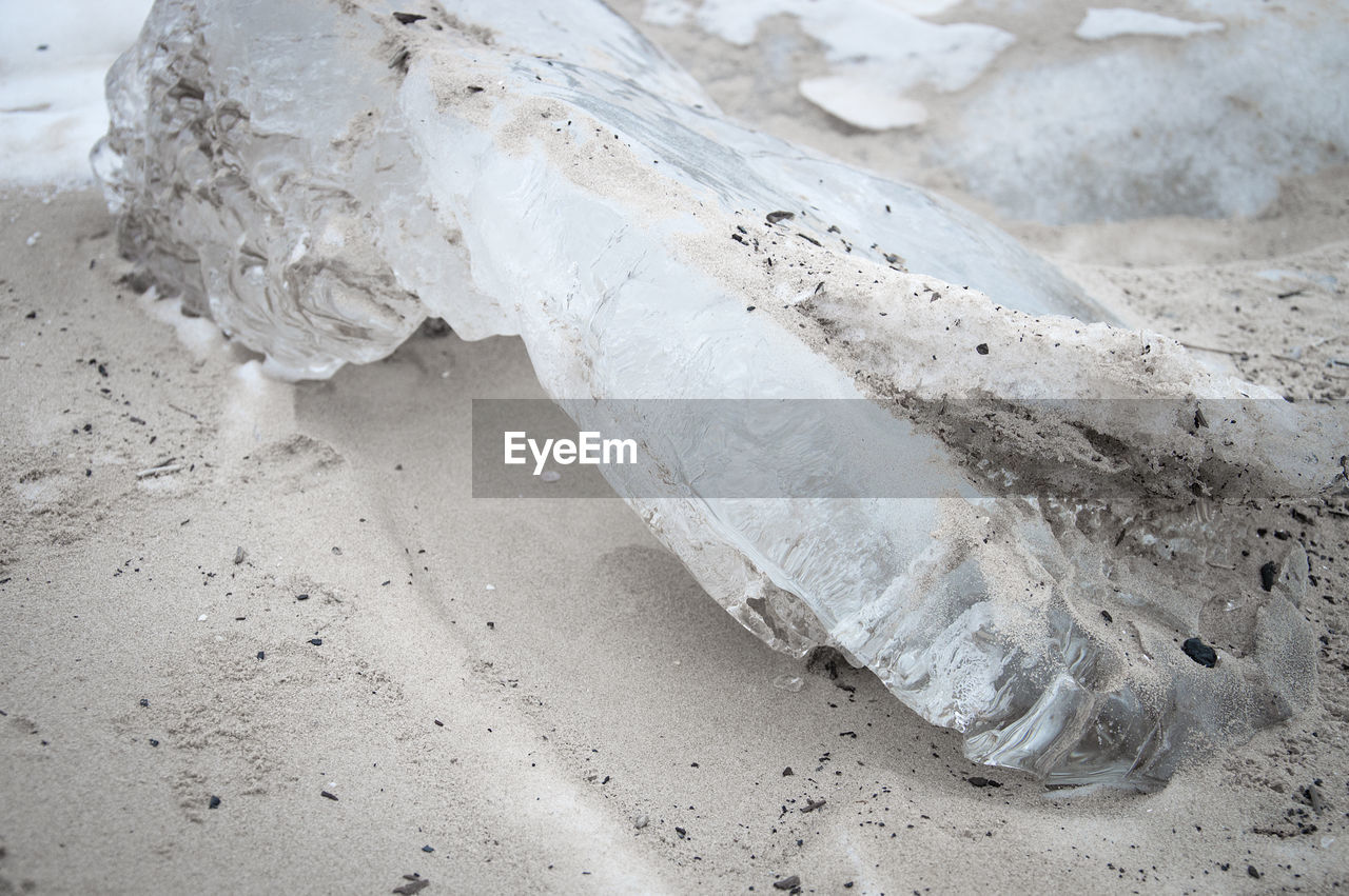 sand, white color, beach, ice, no people, cold temperature, nature, close-up, day, outdoors
