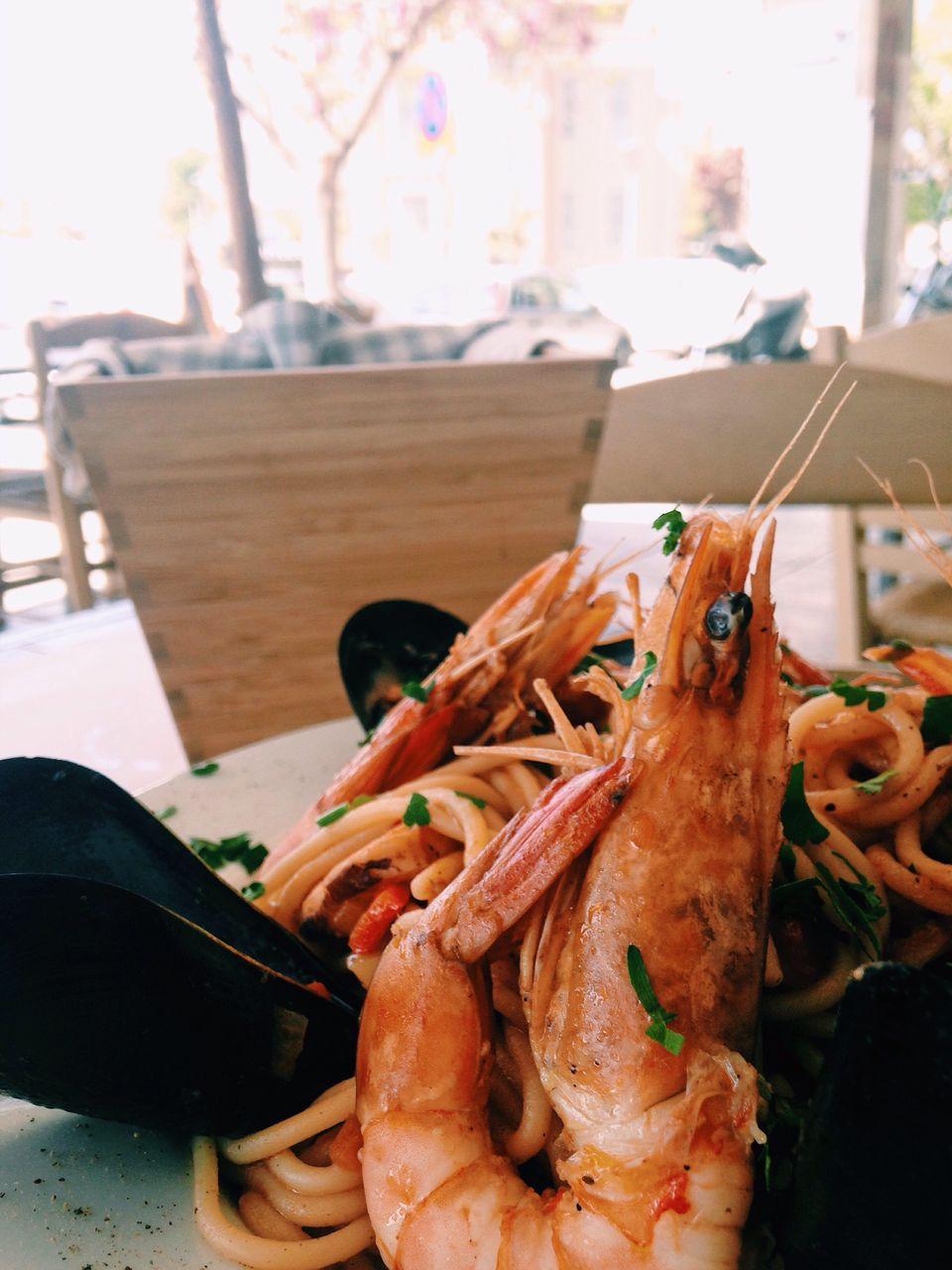 Close-up of seafood pasta