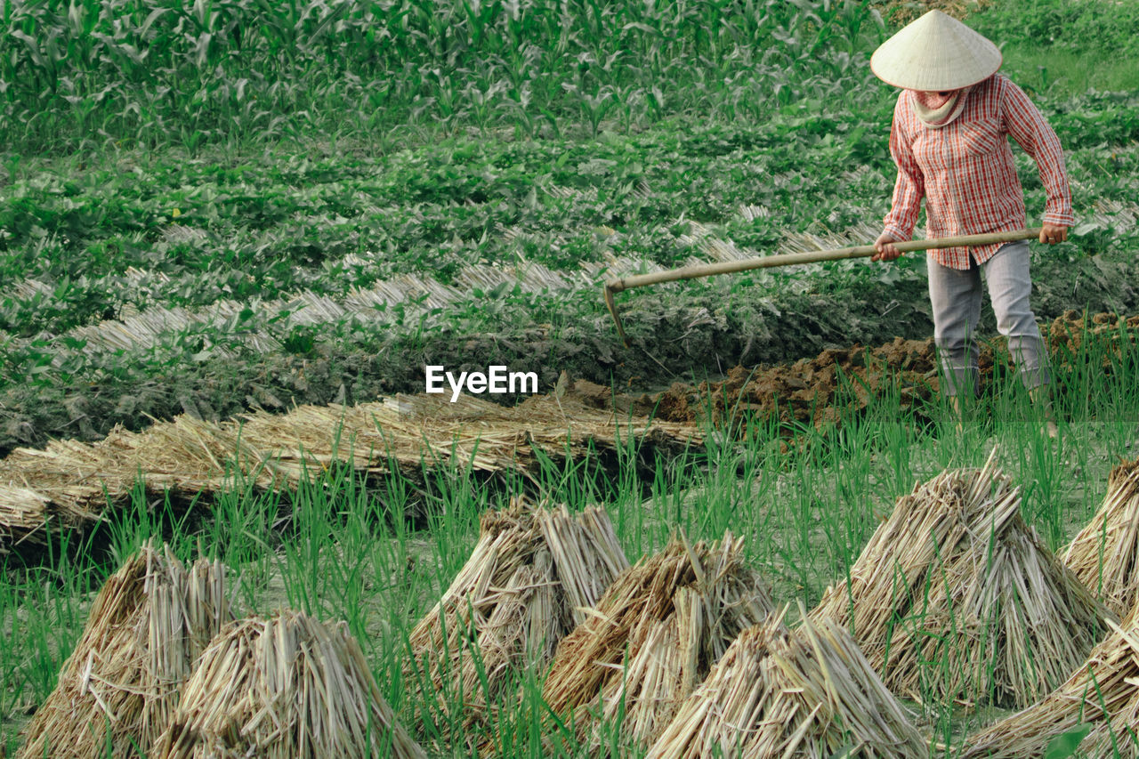 Man Farming On Field